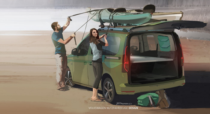 Volkswagen previews upcoming Caddy camper in new sketches