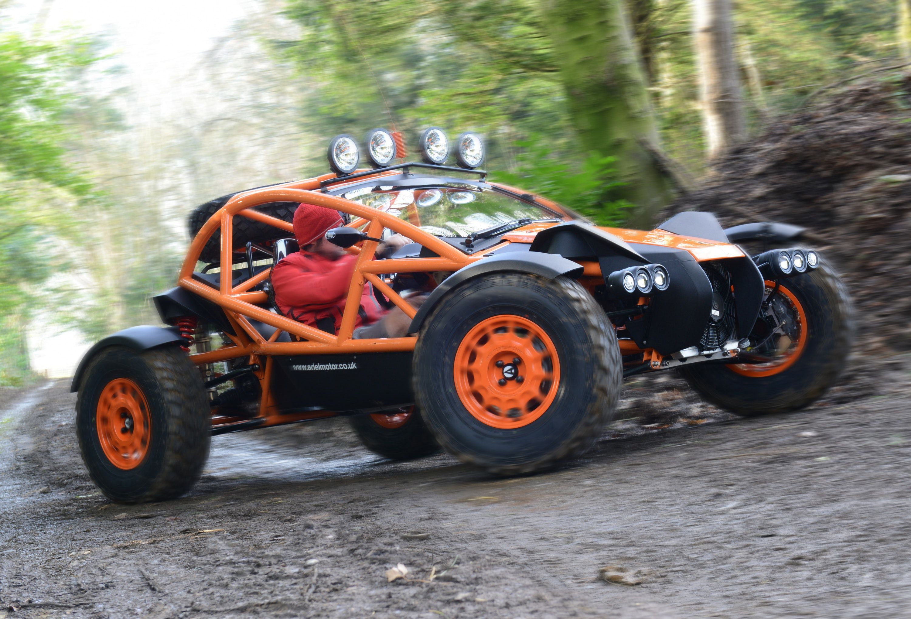 Orange car buggy driving through the woods