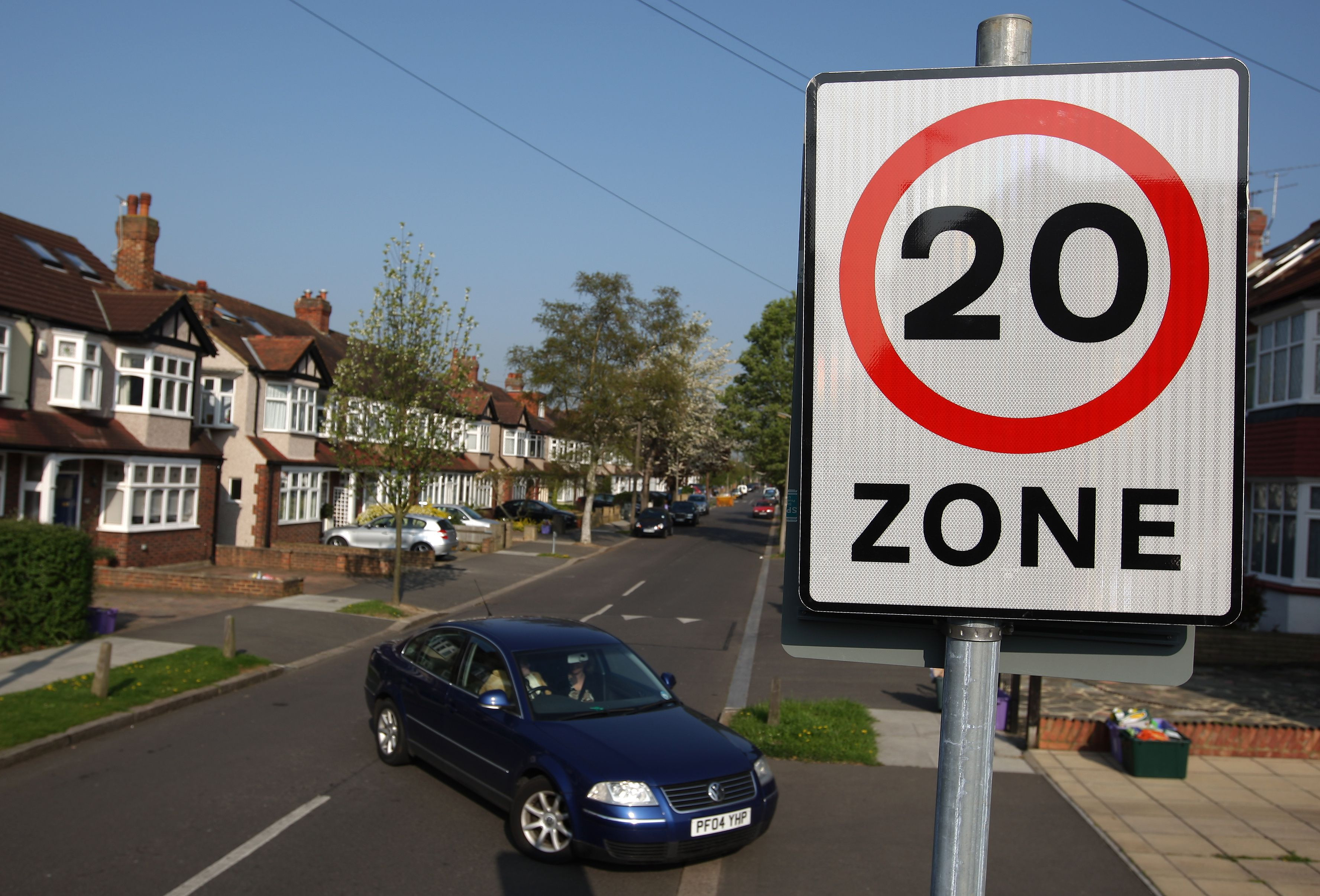 """0 mph zone sign in a suburban street"