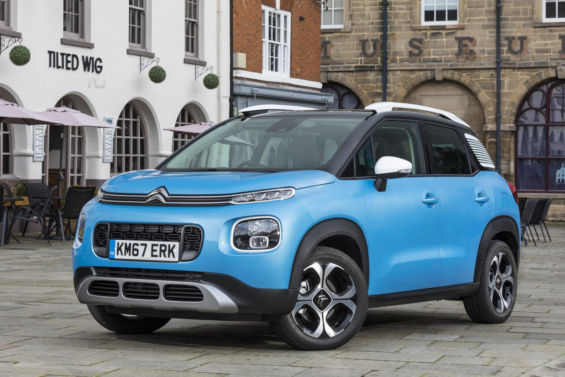 Citroen C3 Aircross jacked up city car in blue