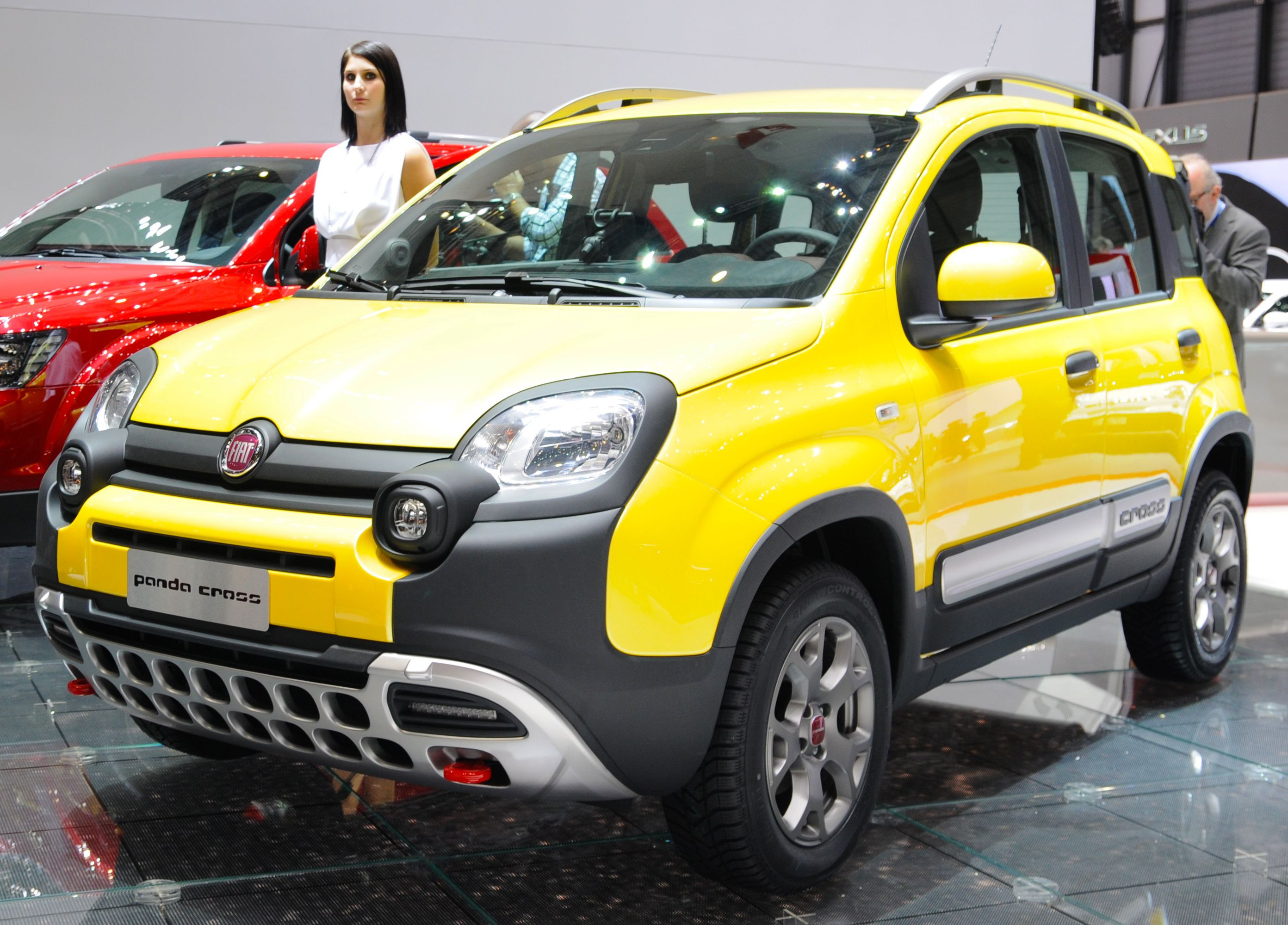 Yellow Fiat panda cross car at a motor show