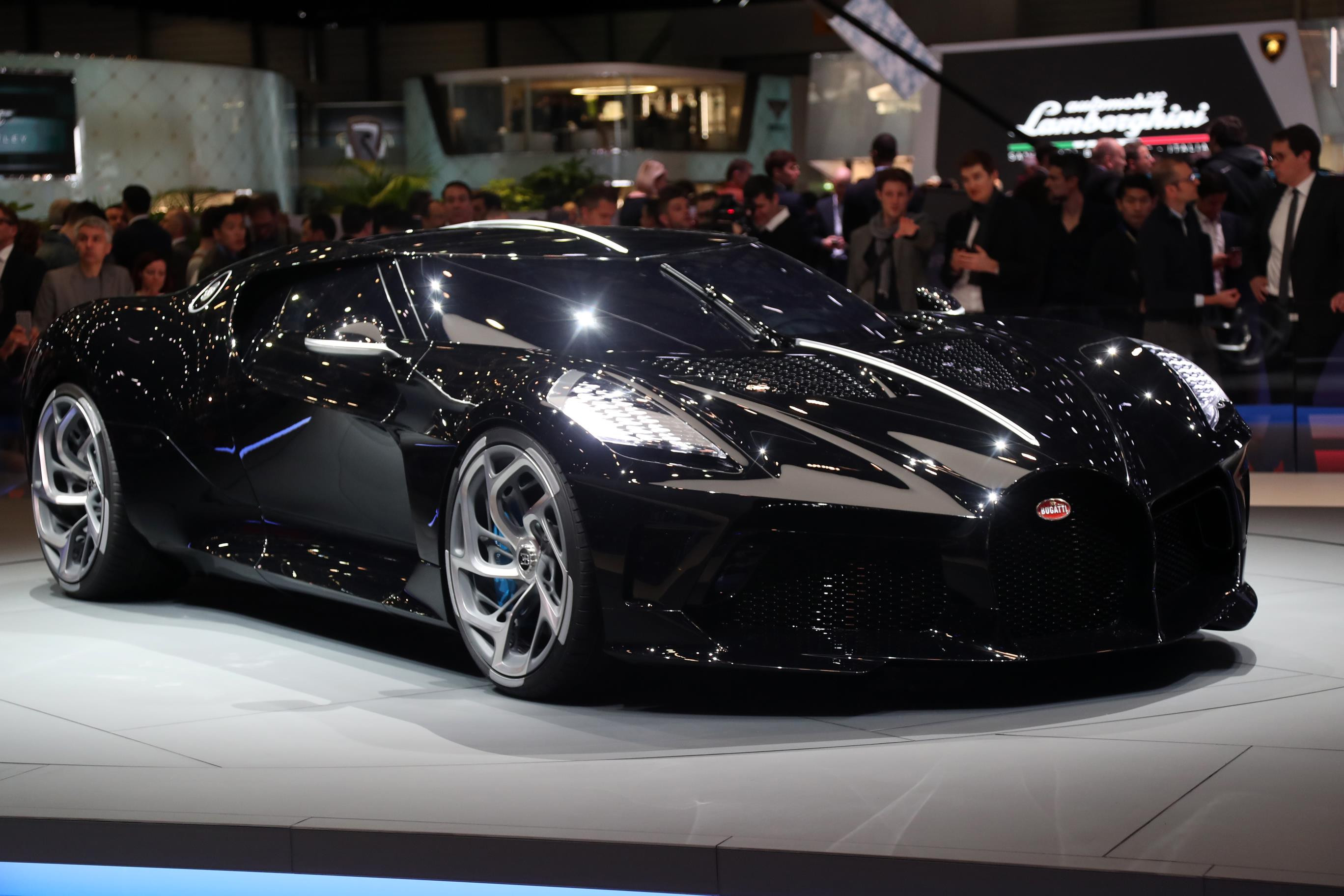 The Bugatti La Voiture Noire, facing right, on display at the Geneva Motor Show 2019.