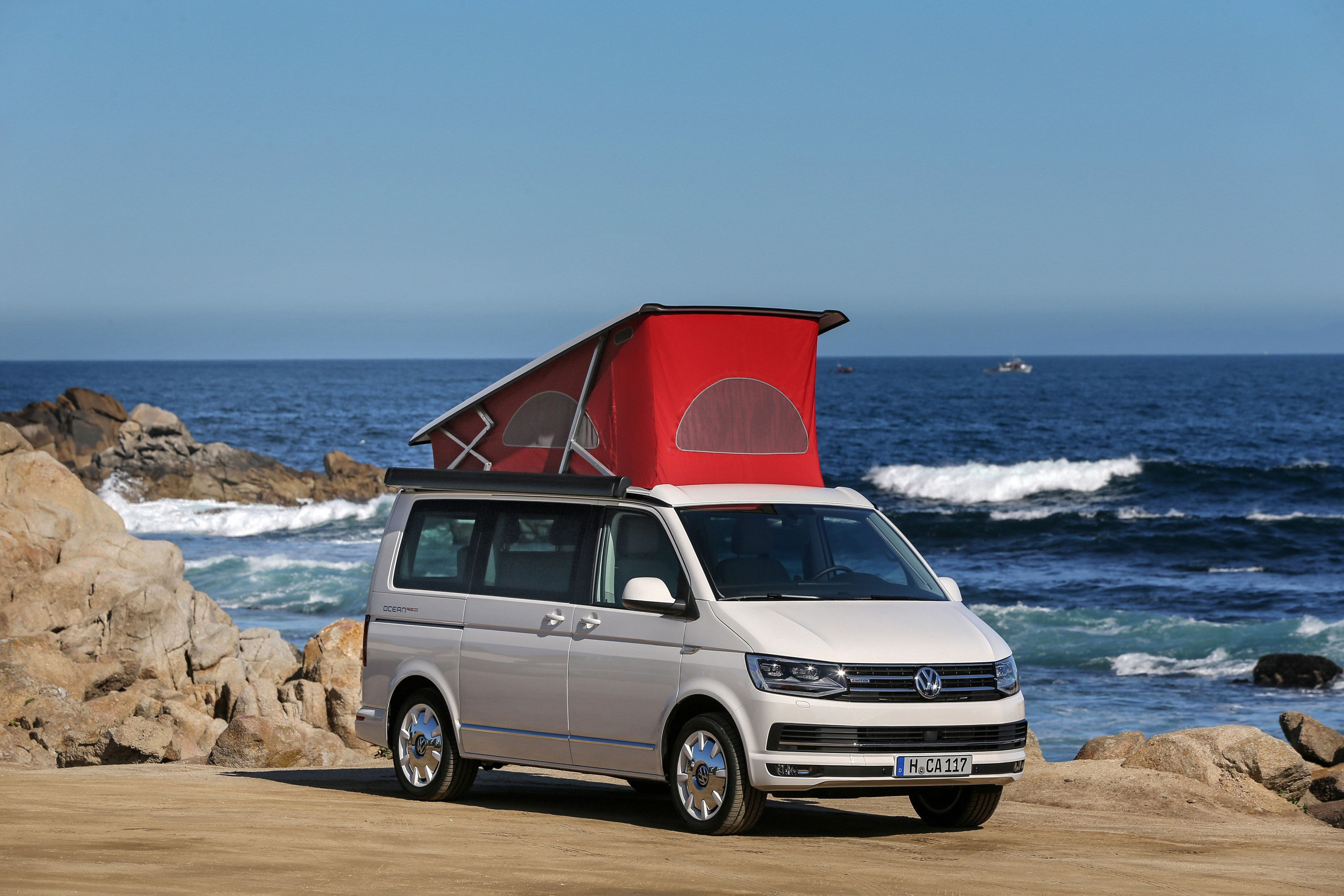 VW California campervan with roof up