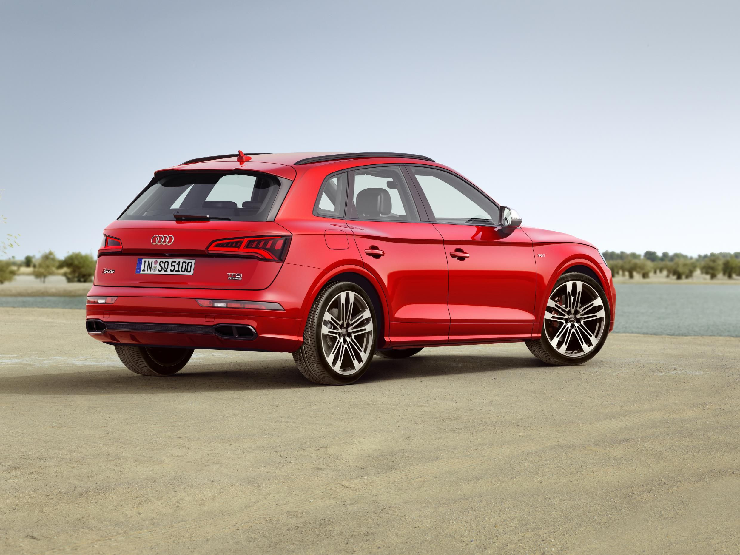 Audi SQ5 in red rear and side