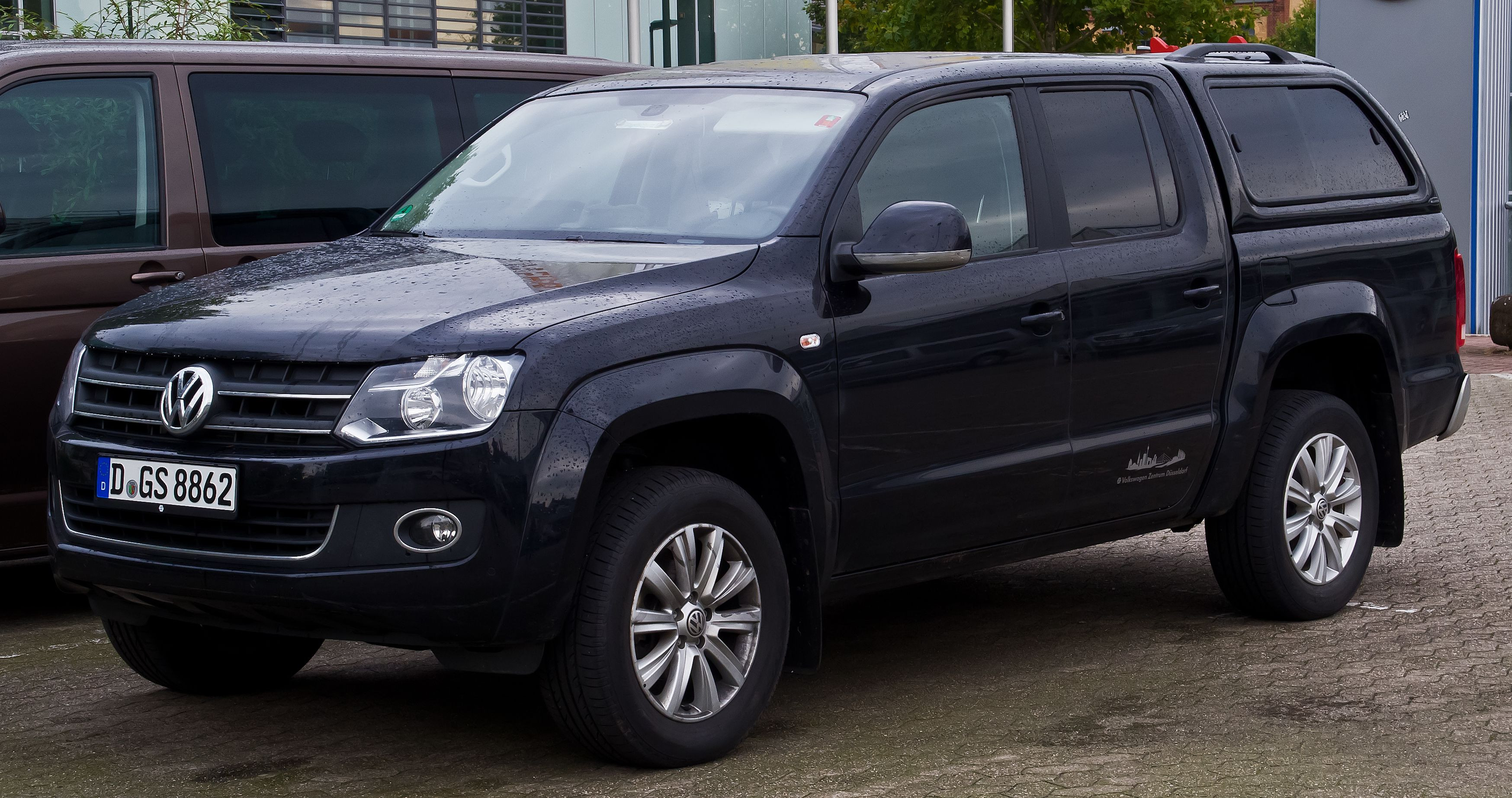 Black VW Amarok with hard top fitted