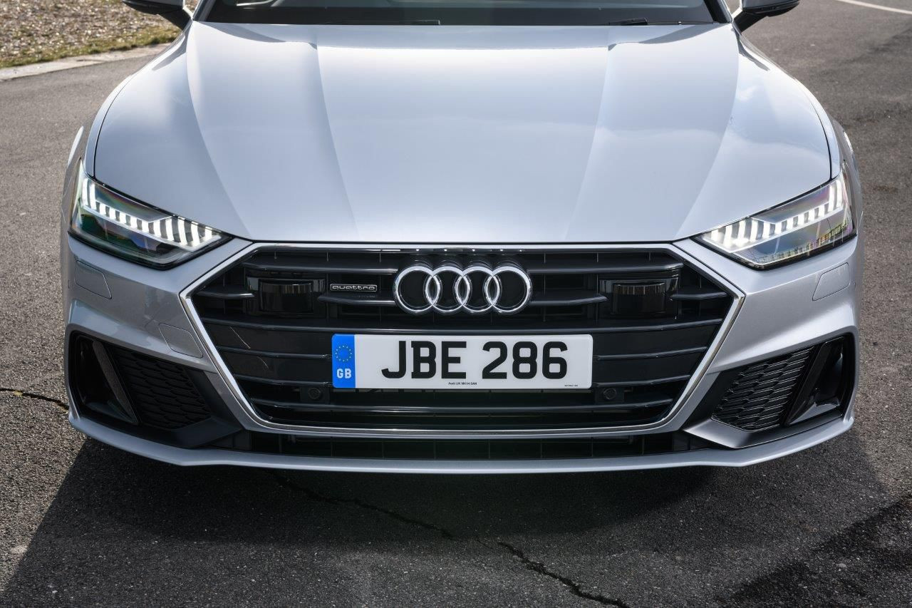 Silver Ausi A7 front on close up to the headlights and radiator grill