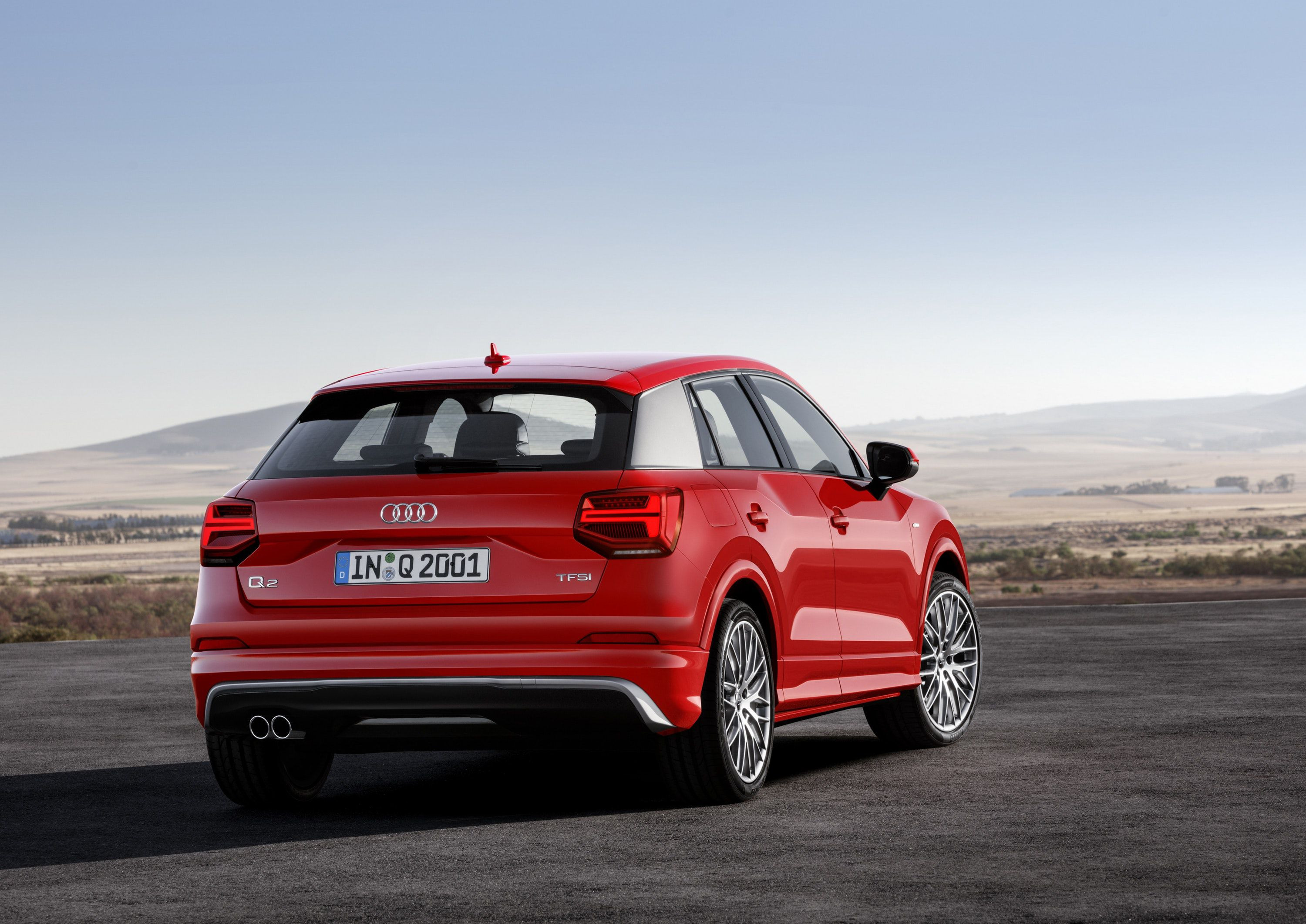 Rear of red Audi Q2 SUV