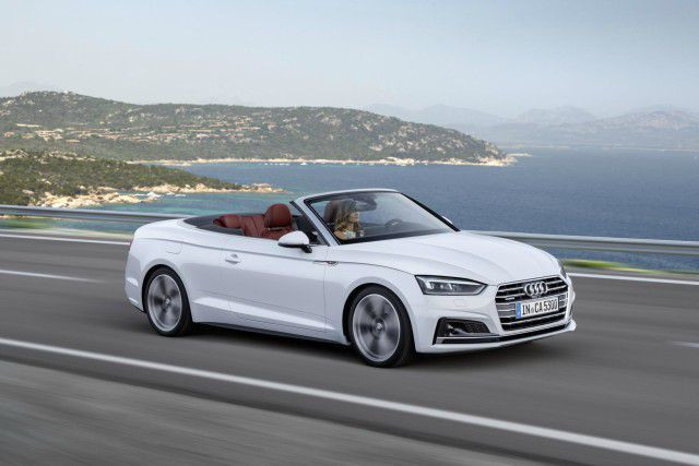 White Audi Ar cabriolet with amazing view