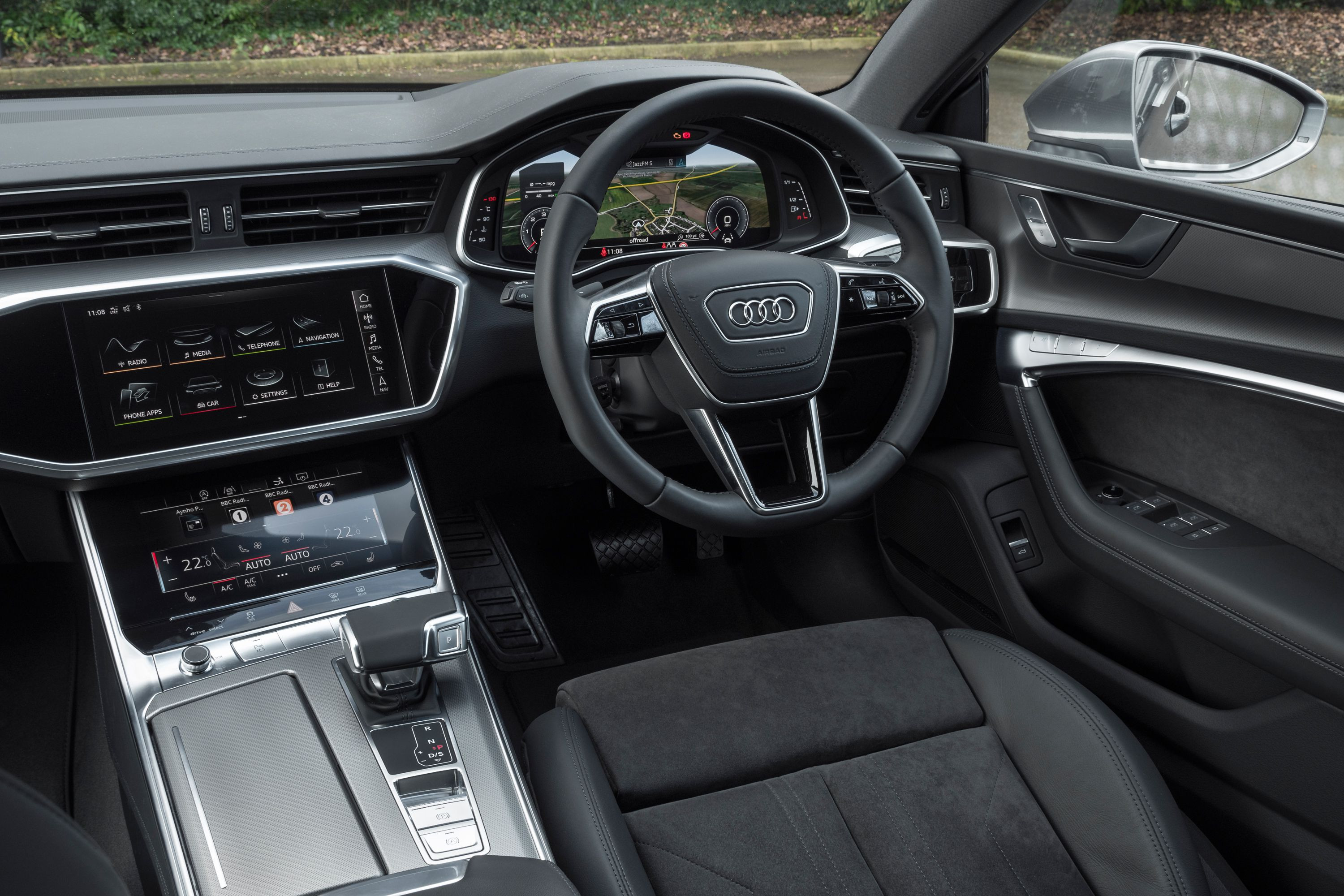 Black leather passenger seat interior space of an Audi A7