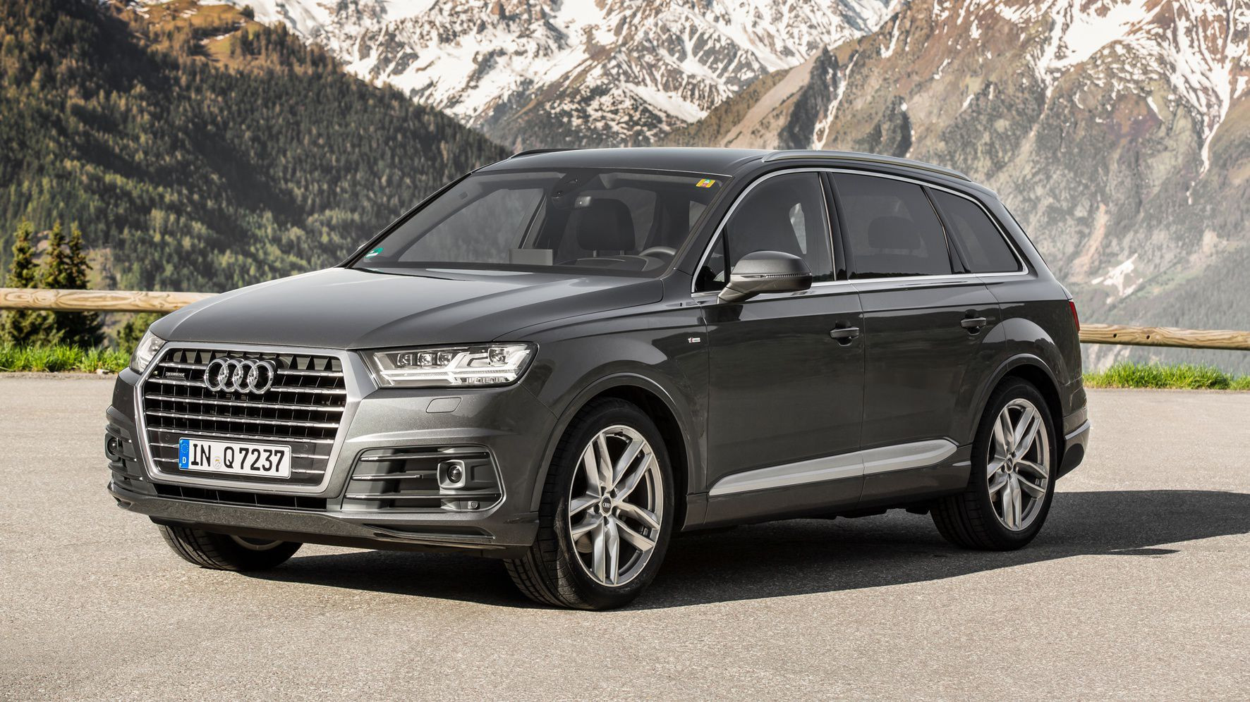 Audi Q7 parked in front of a snowy mountain