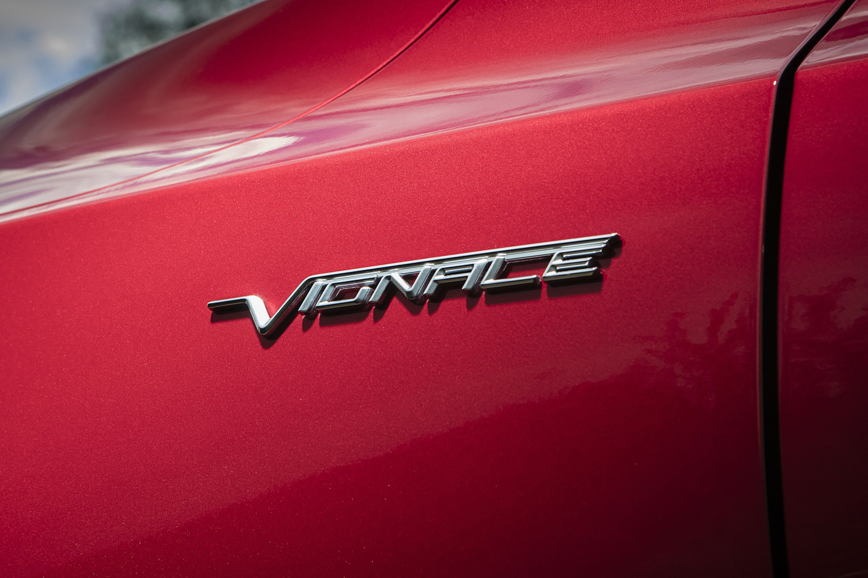 Close up of Vignale badge