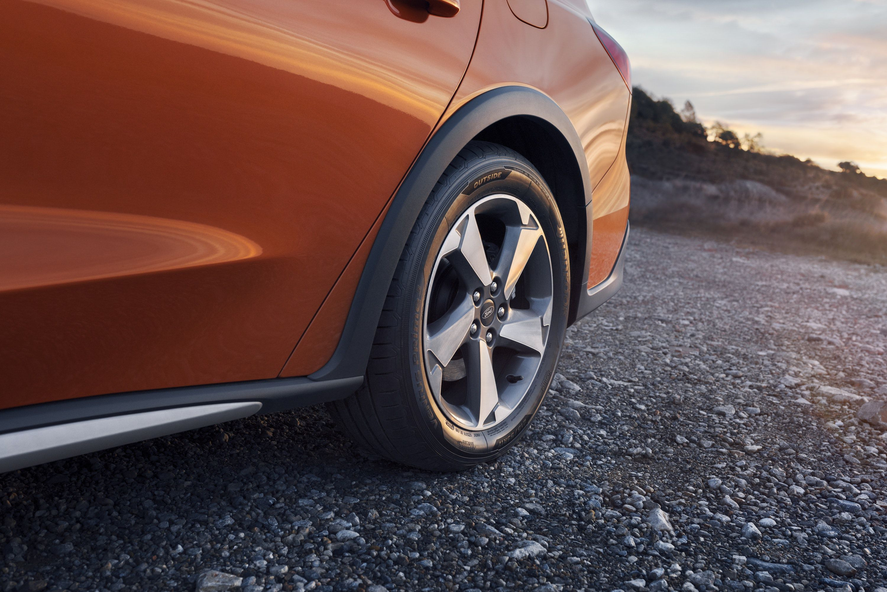 Close up of ford focus active wheel