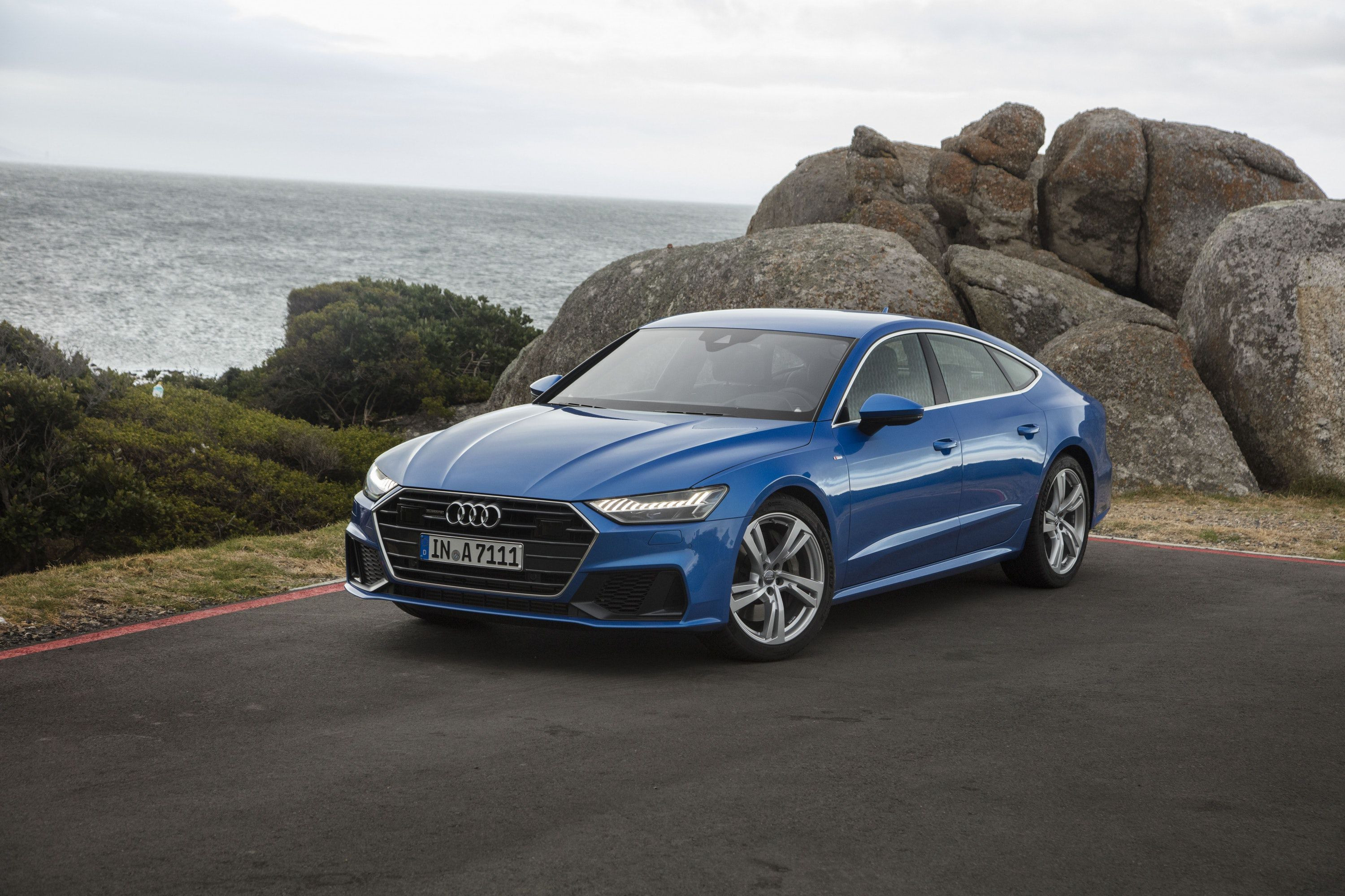 Front view of blue Audi A7 Sportback