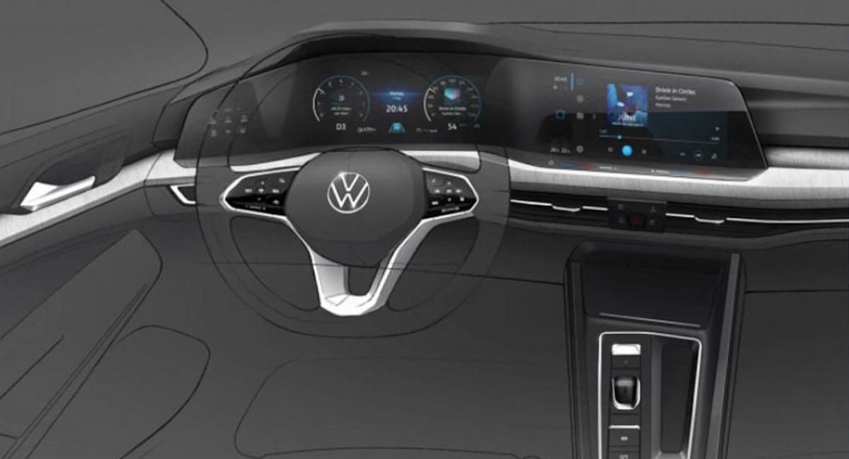 Design sketch reveals first glimpse of new VW Golf interior