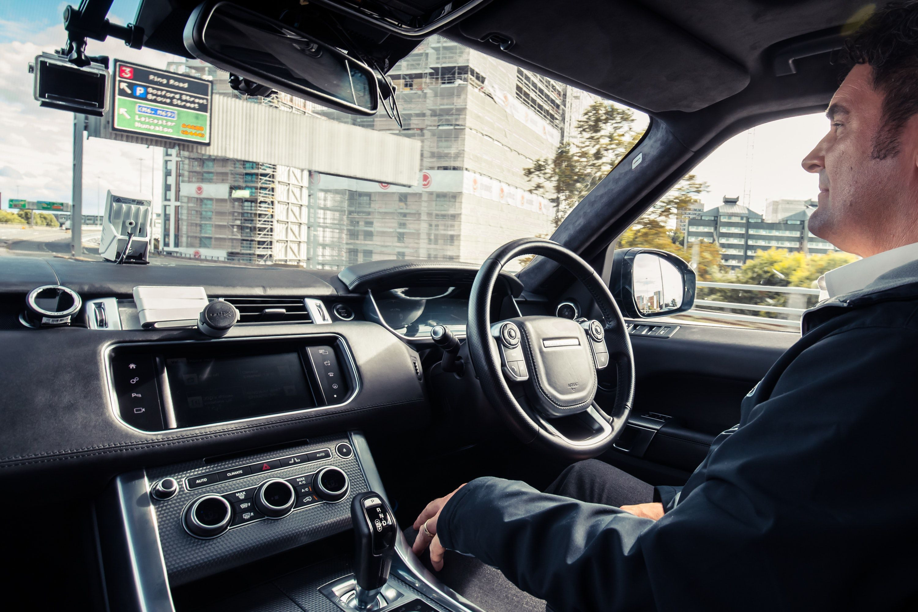 inside the self driving Range Rover