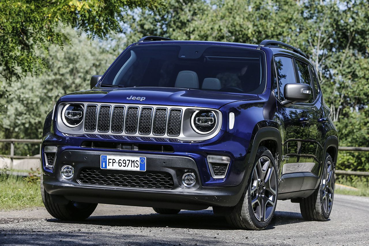 front view of a blue Jeep Renegade