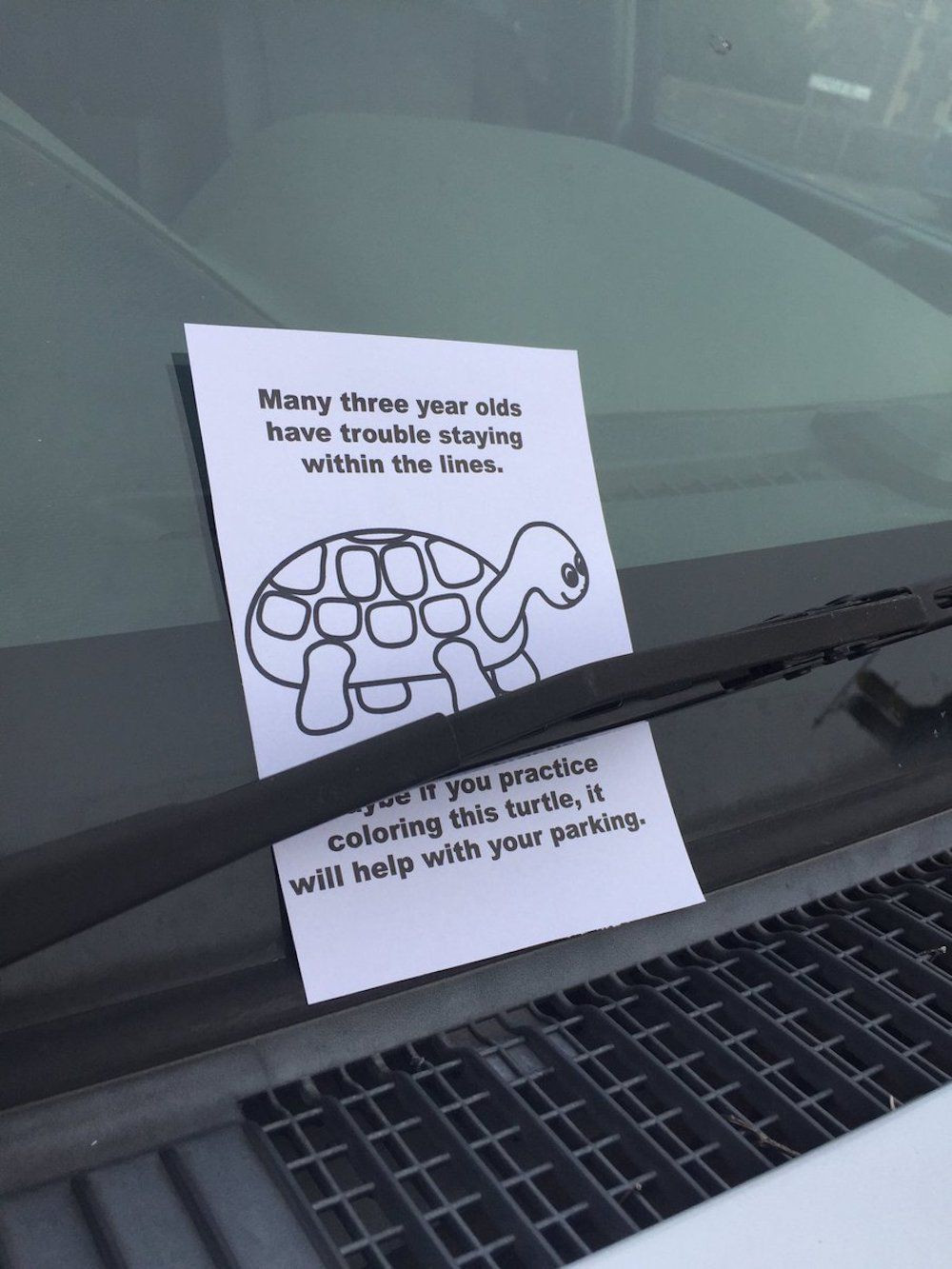 Hilariously patronising note left on parked car in Bristol