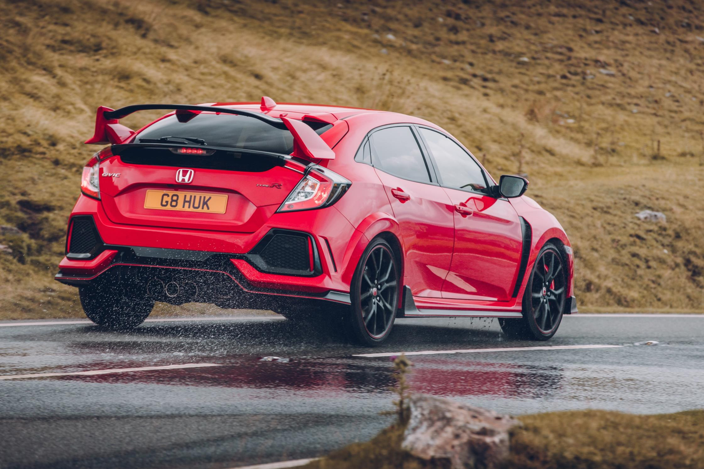rear view of red Honda Civic Type R