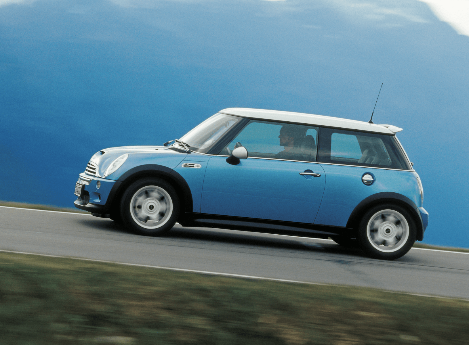 Side view of a blue Mini Cooper S