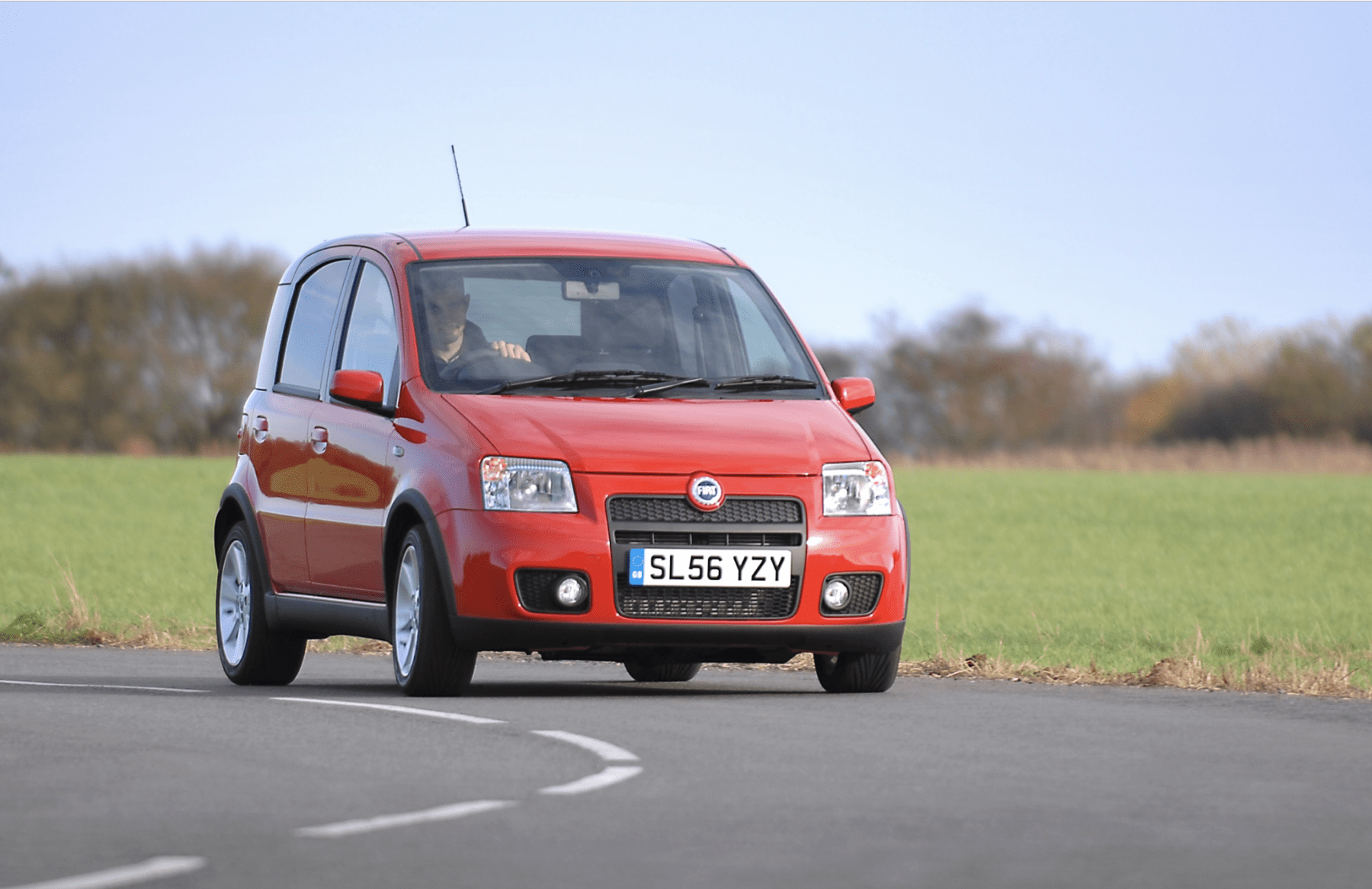 Front view of a Red Fiat Panda