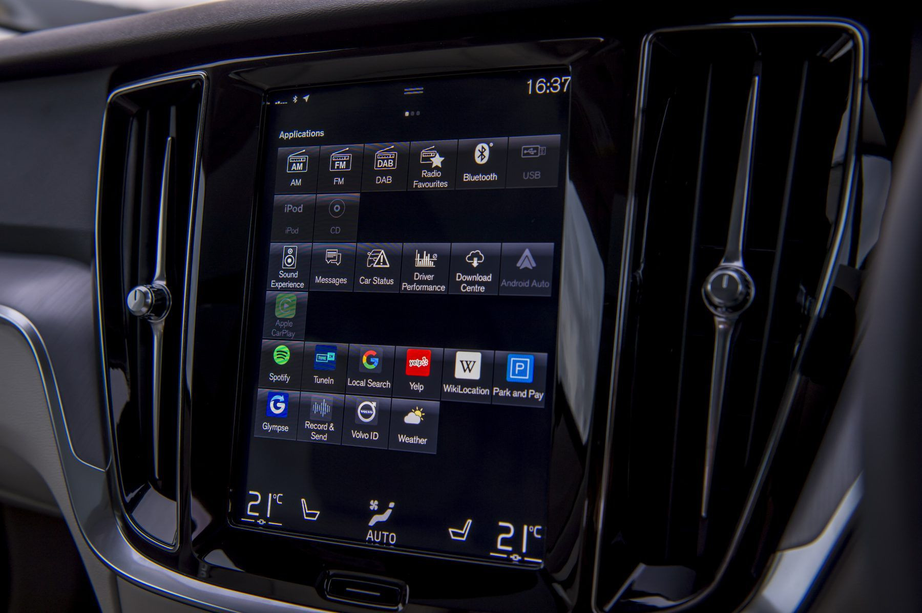 nine-inch touchscreen infotainment system in the Volvo V60