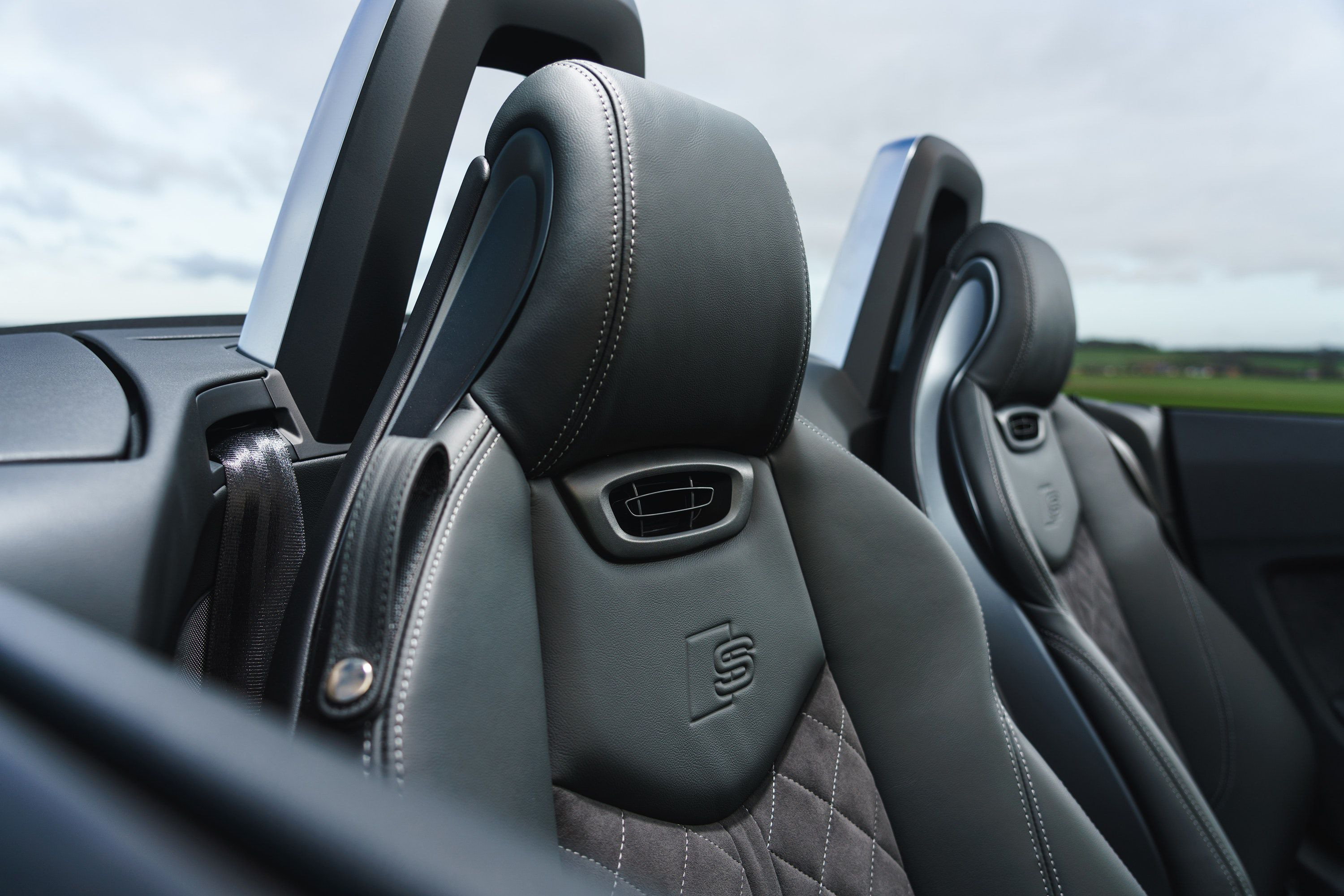 close up of seat upholstery in the TT Roadster