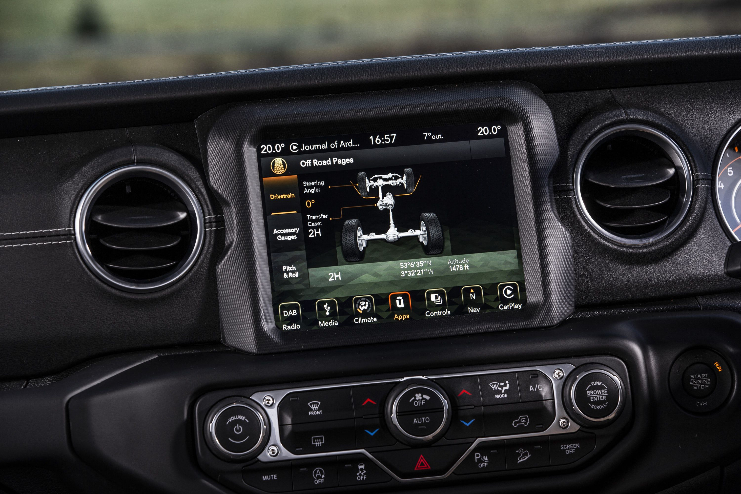 Close up of touchscreen in Jeep Wrangler