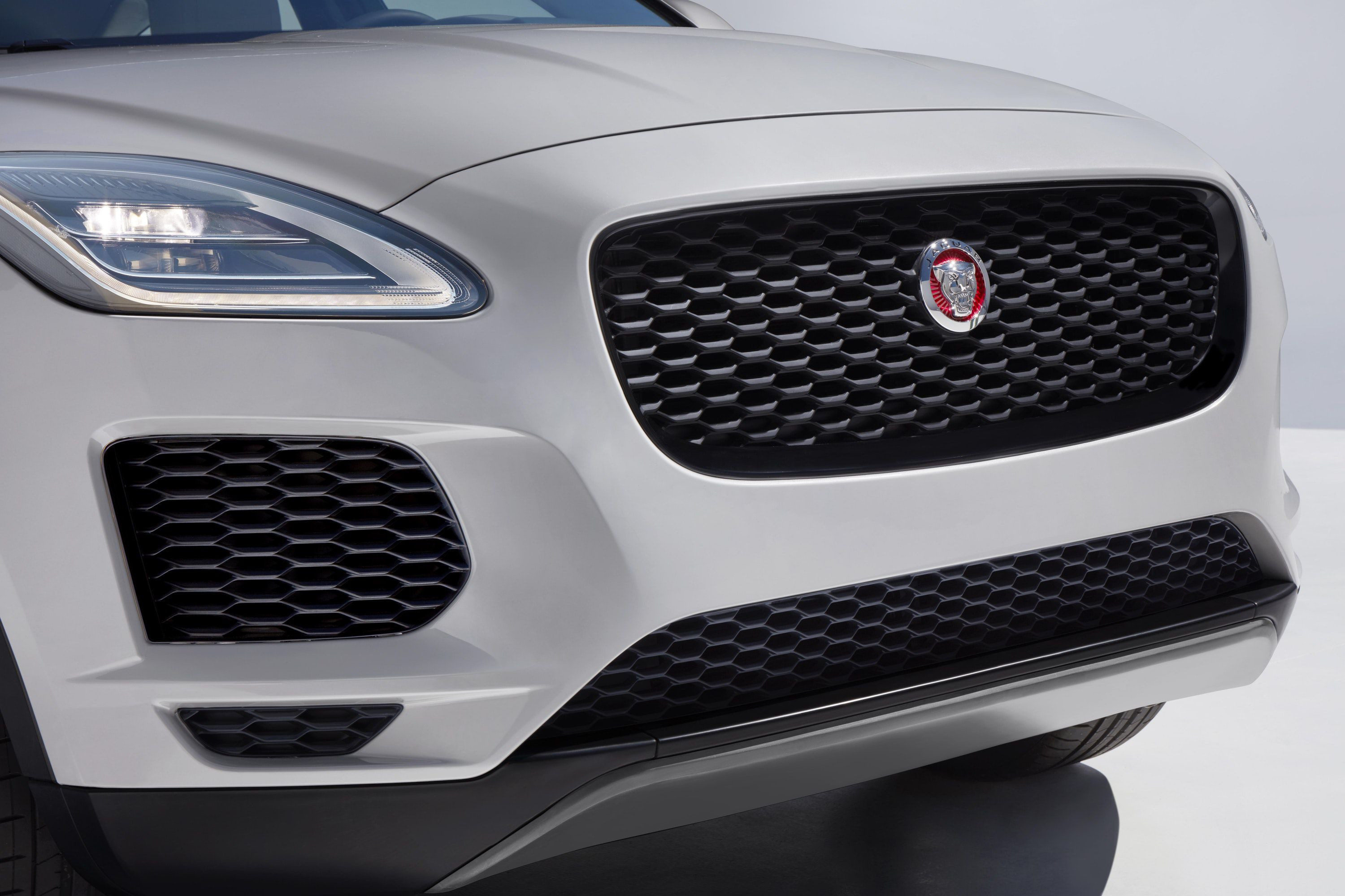 grille in front of Jaguar E-pace