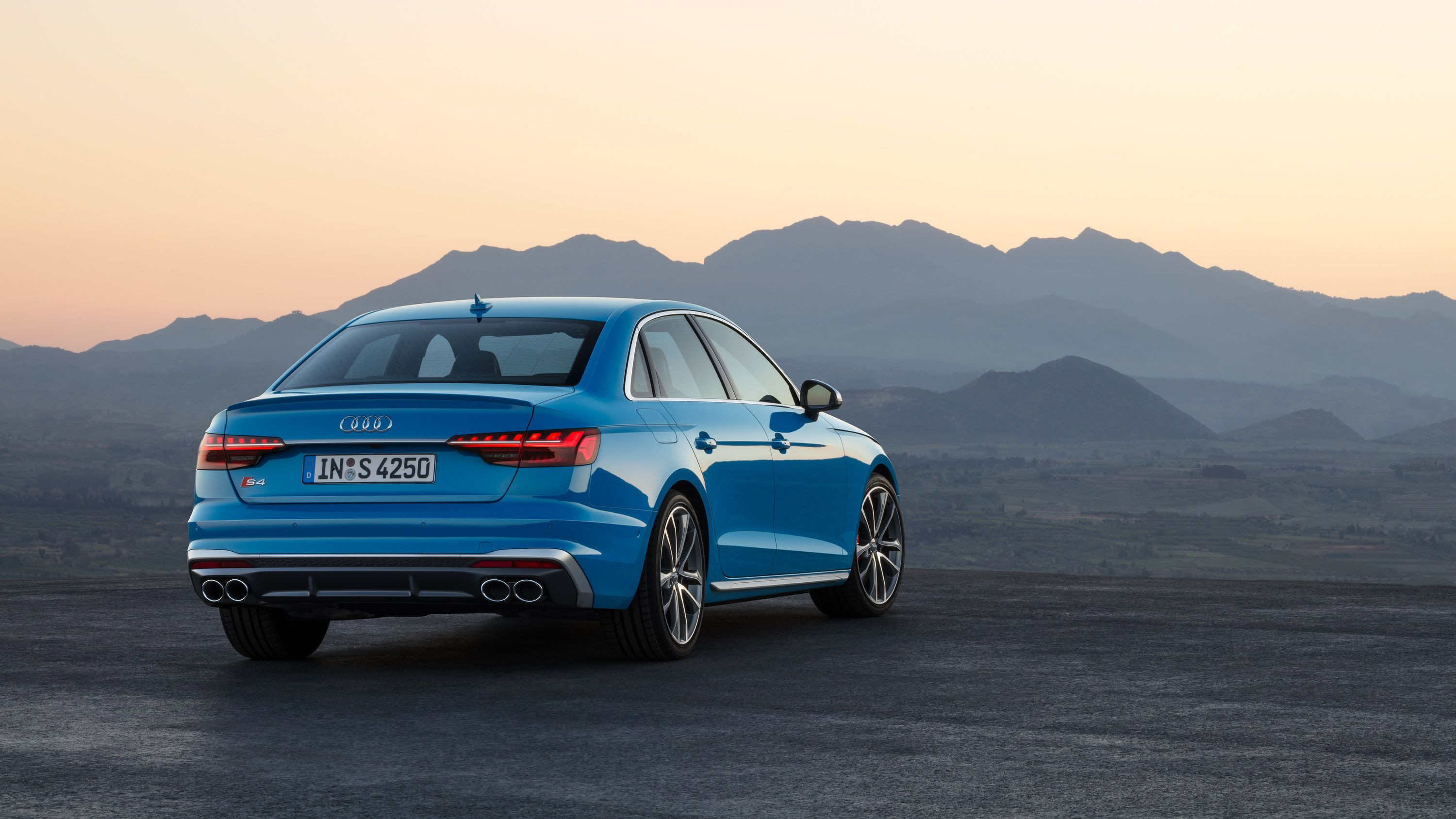 rear view of a blue Audi S4