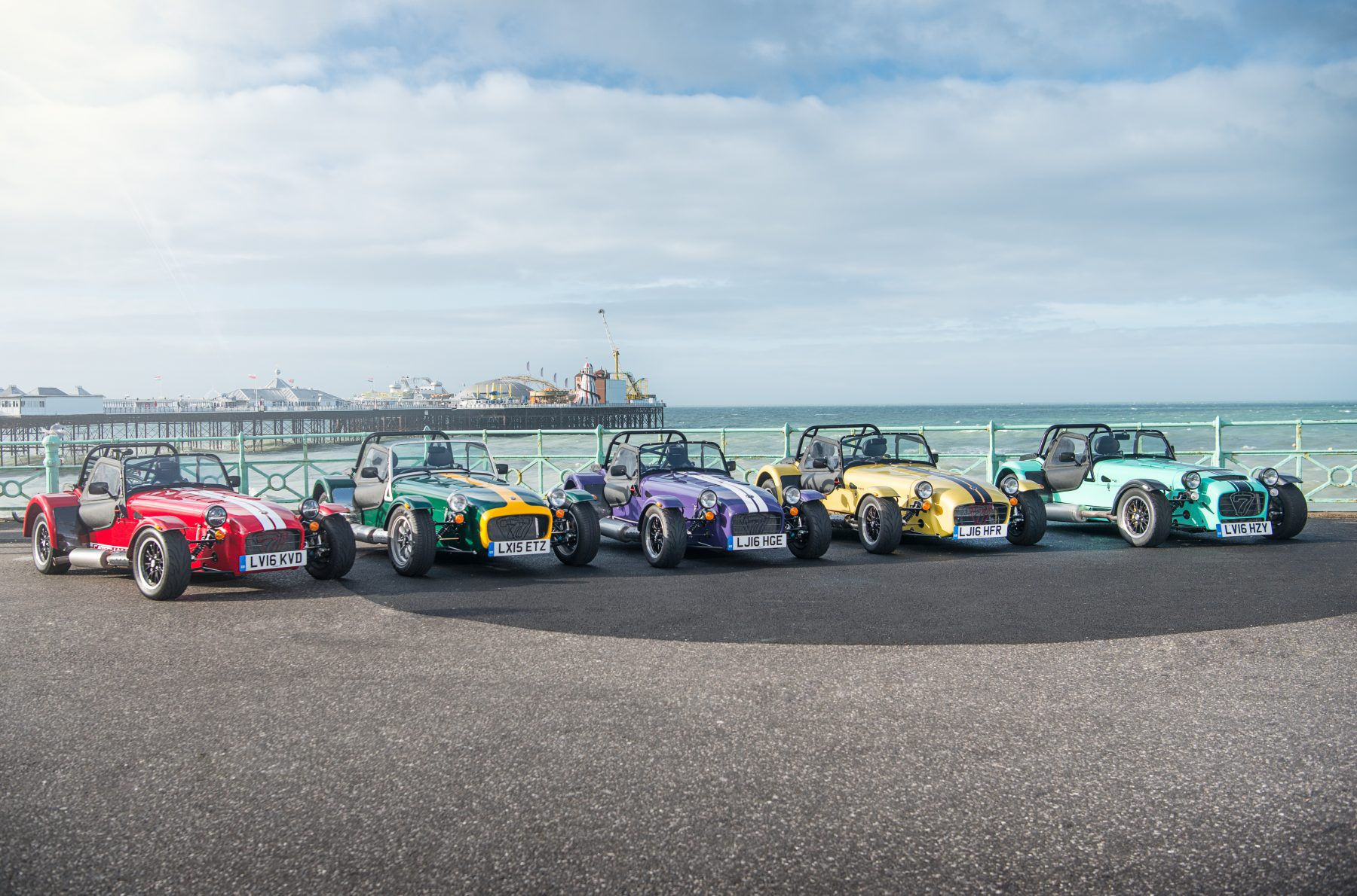 Five Caterham cars lined up