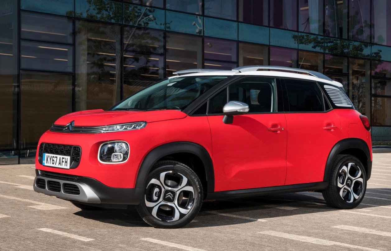 Red Citroen C3 Aircross parked side on