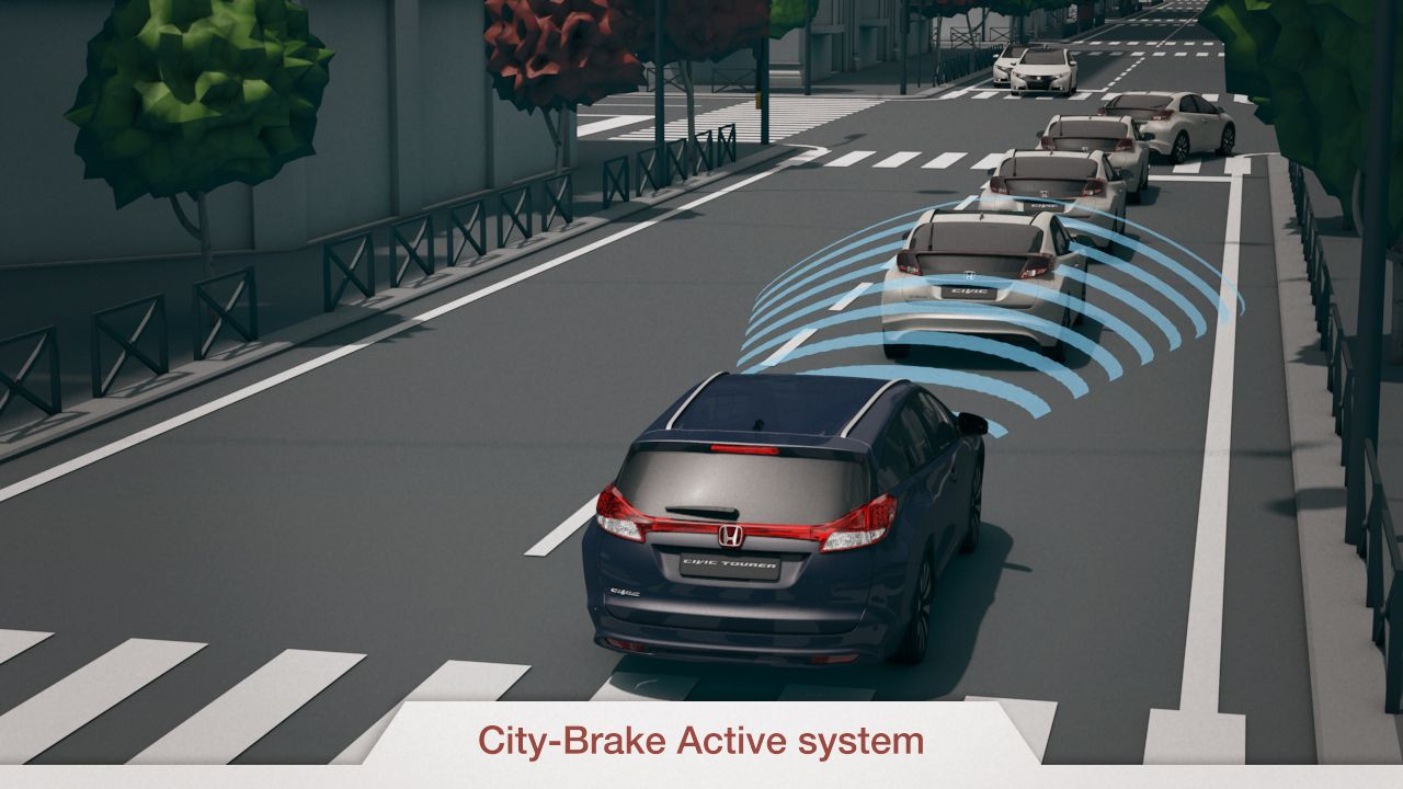 Graphic demonstration of automatic braking system