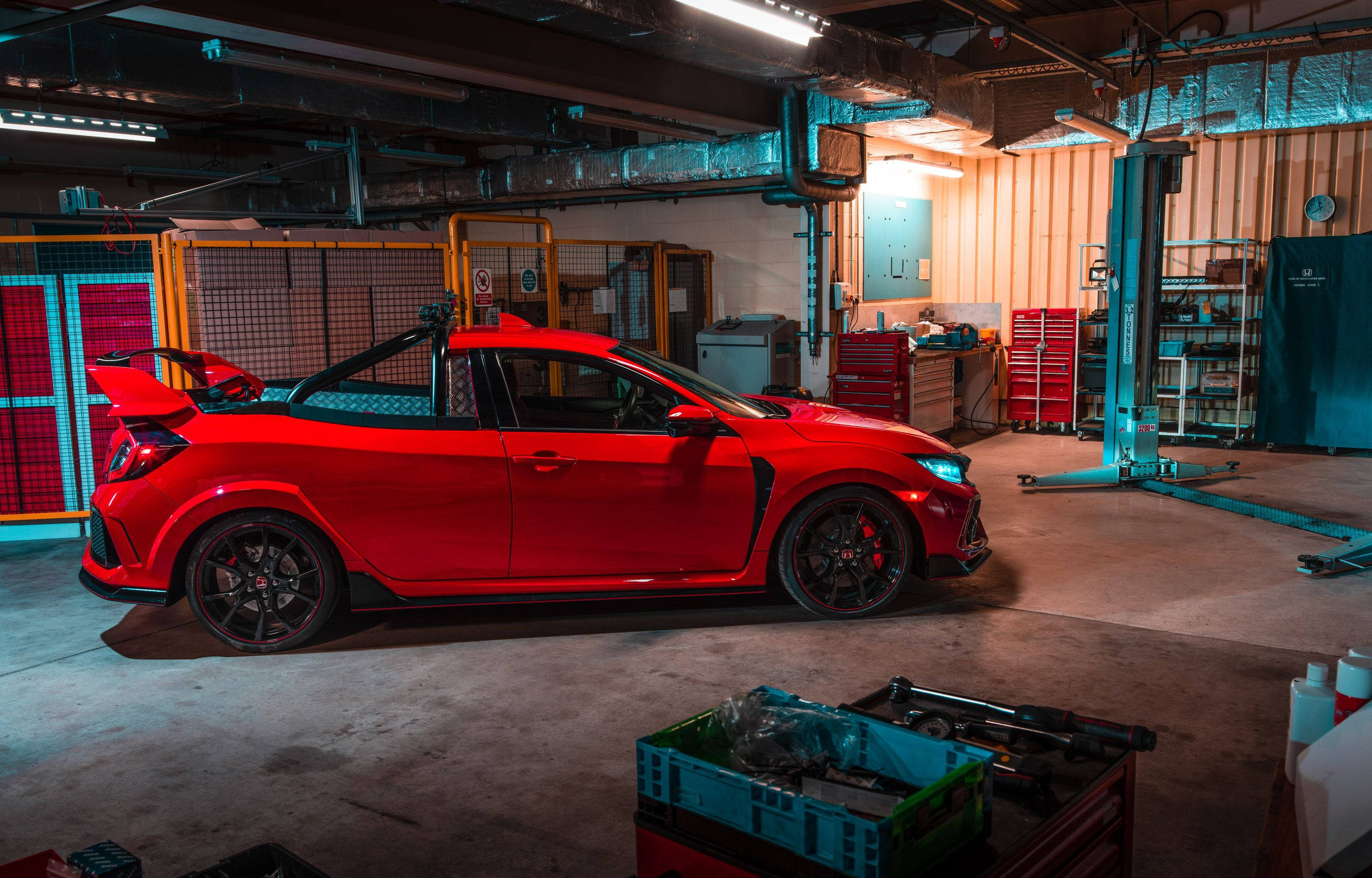 Red Honda Civic Type R pick up truck concept in a workshop