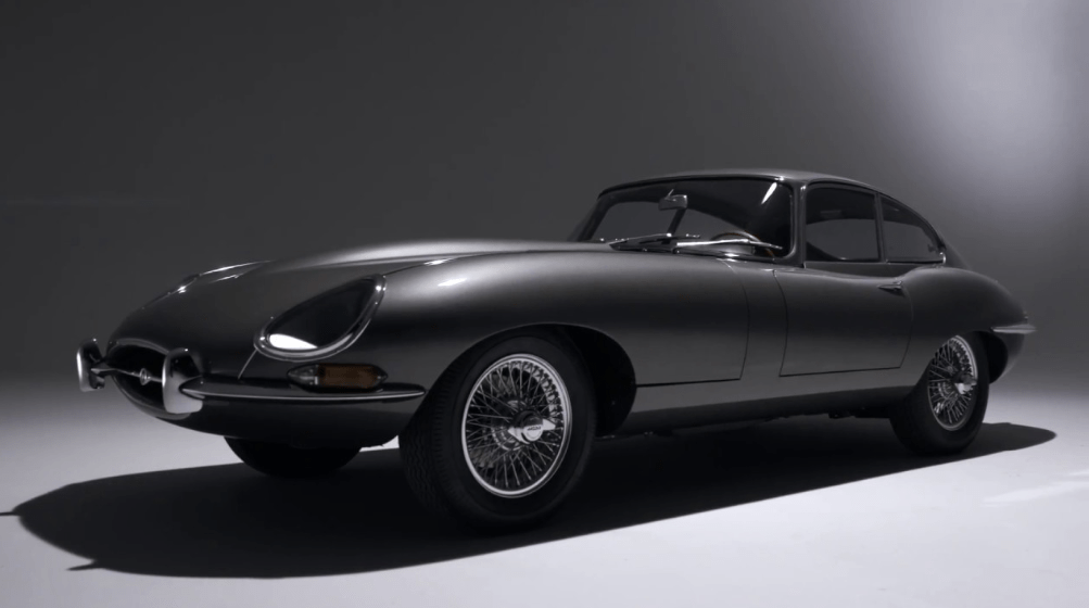 Black and white image of the E-Type Jaguar