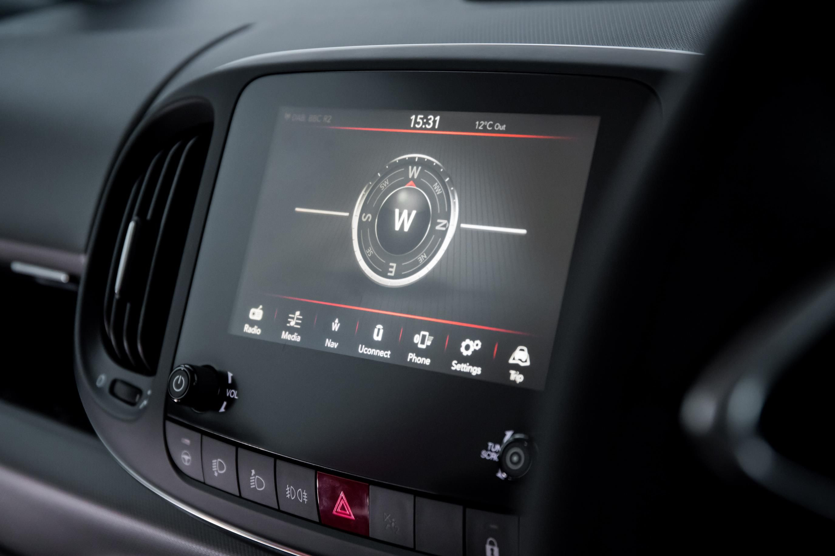 Fiat Uconnect touchscreen in a Fiat 500l