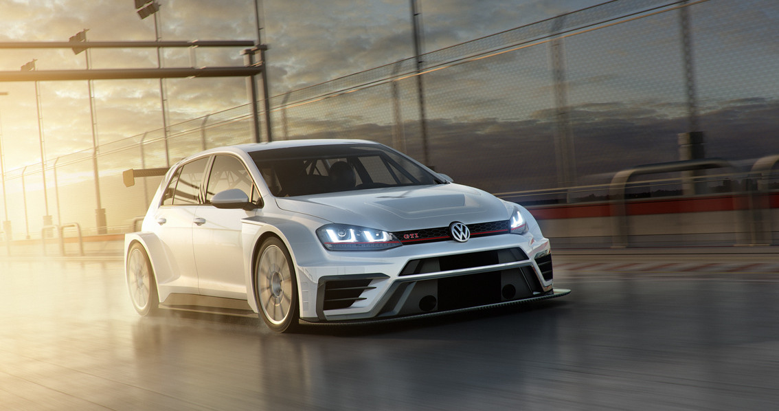 Silver Volkswagen GTI TCR driving towards you in the rain