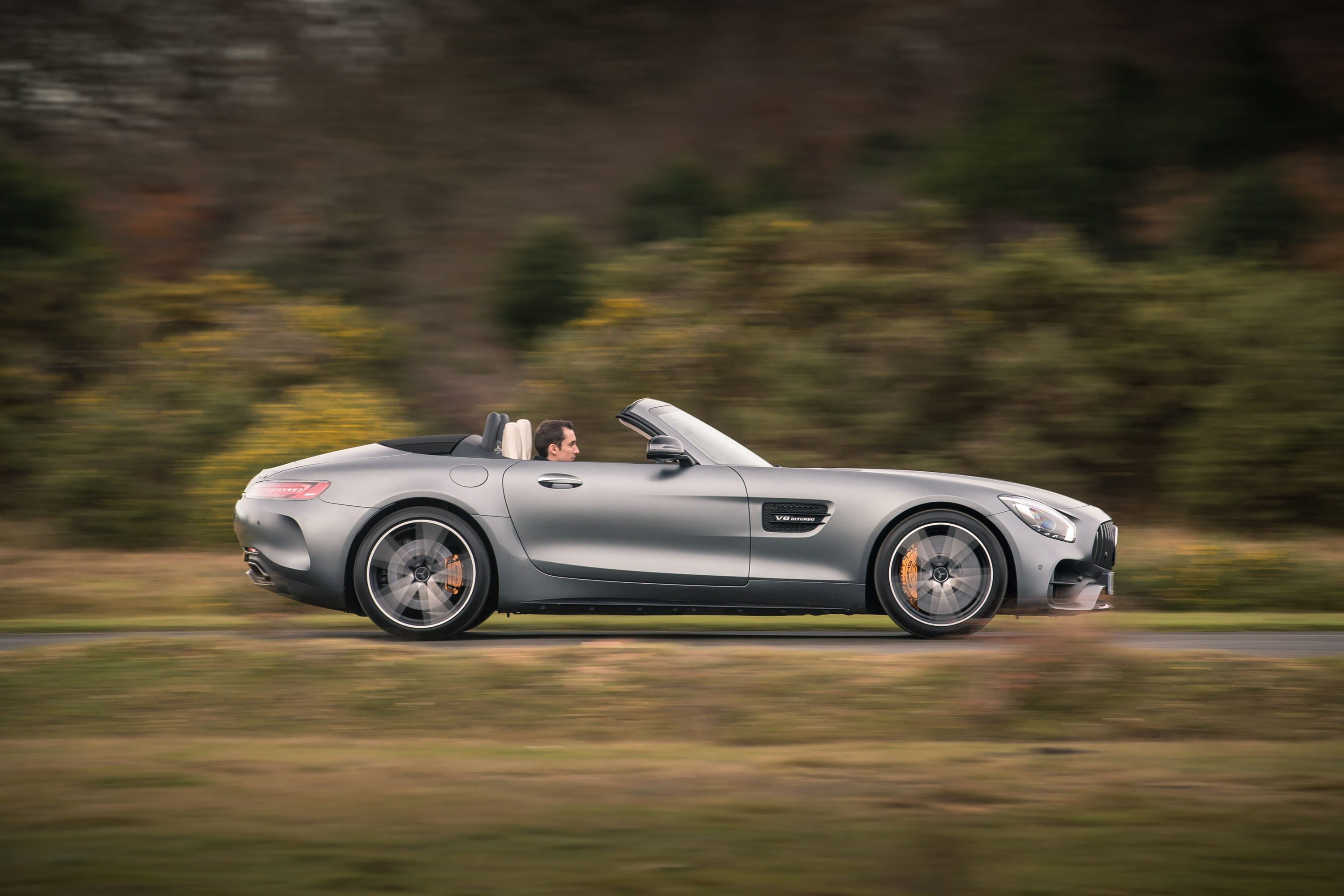 Mercedes-AMG GT C Roadster driving on the road