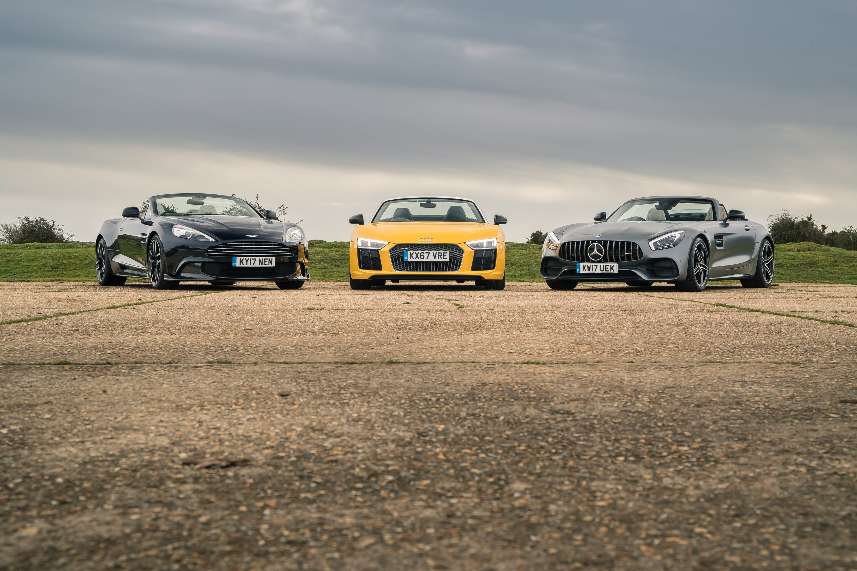 Aston Martin Vanquish S Volante, Audi R8 Spyder V10 Plus and Mercedes-AMG GT C Roadster lined up