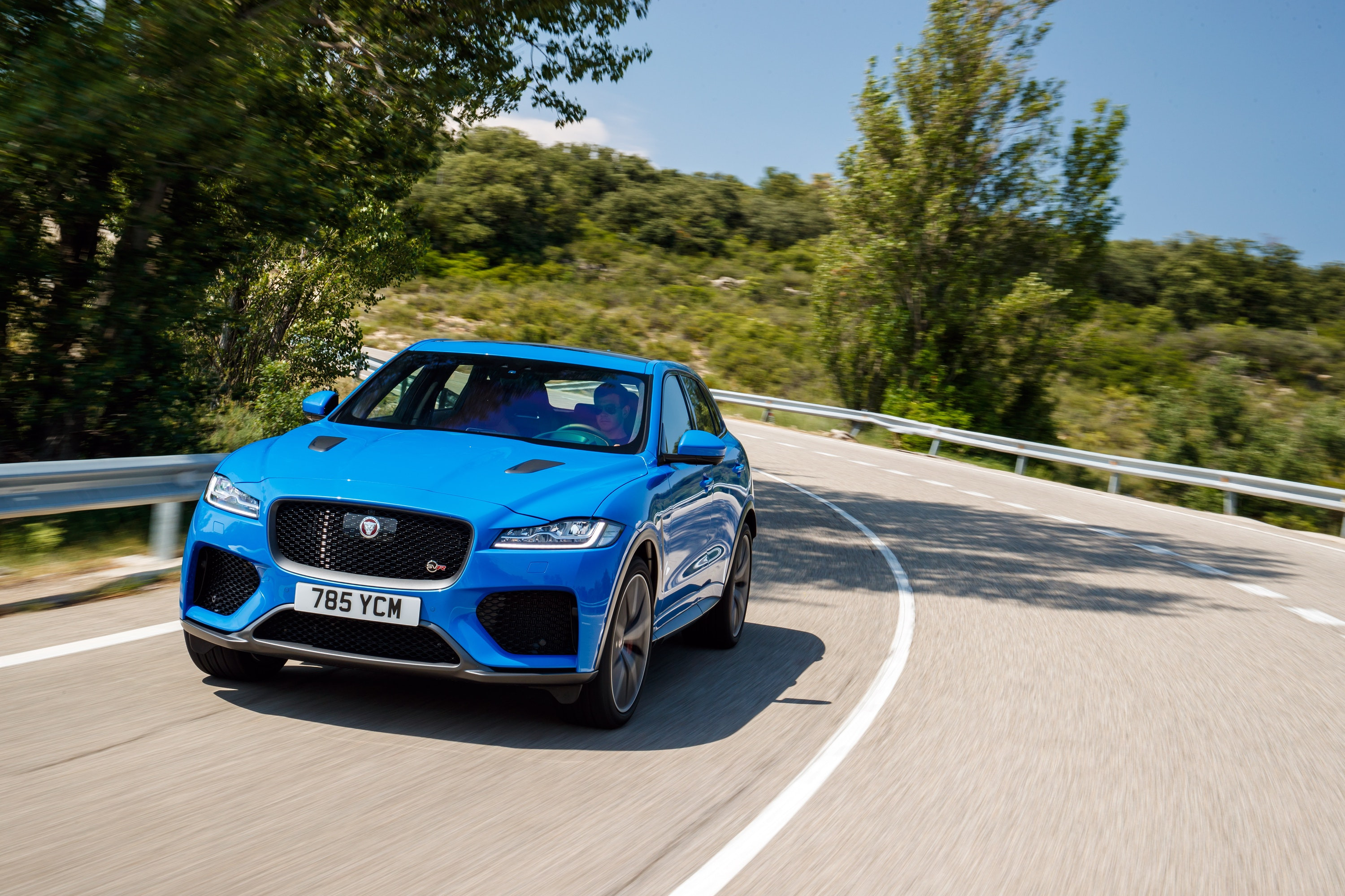 Front of the Jaguar F-Pace SVR driving down the road