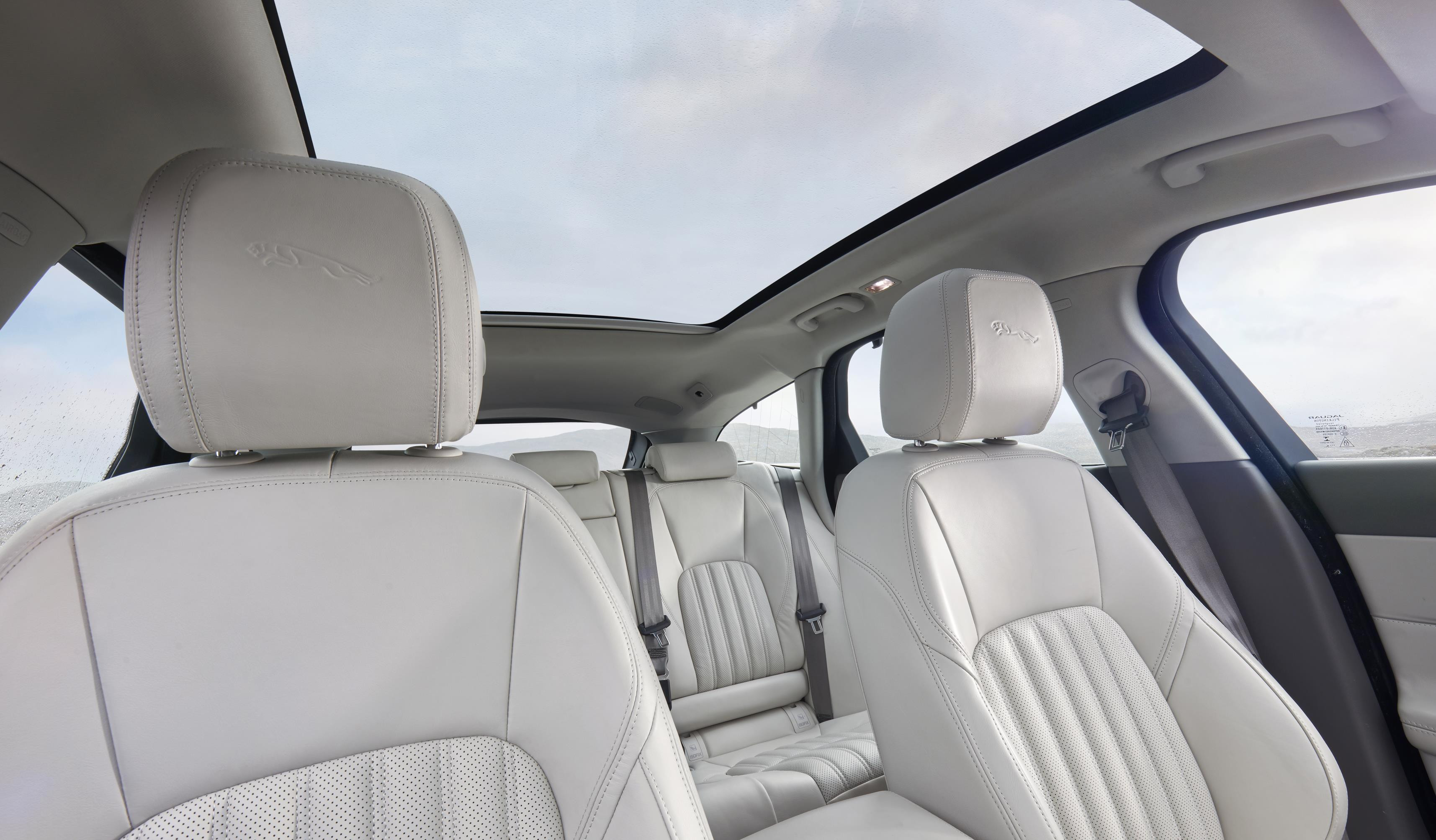 Cream leather interior of Jaguar XF Sportbrake