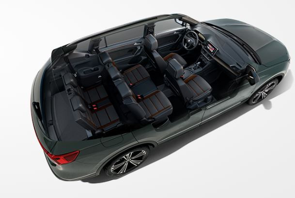 SEAT Tarraco with the roof removed to show the seven seats inside