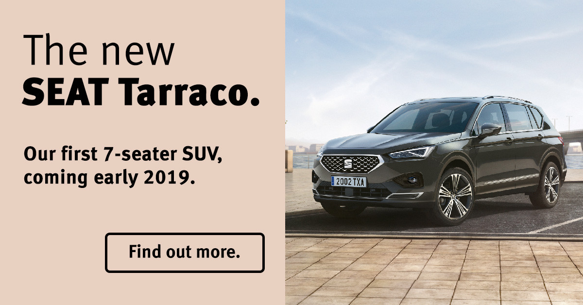 Banner for the new SEAT Tarroca saying it is the first 7-seater SUV from SEAT and its coming early 2019.