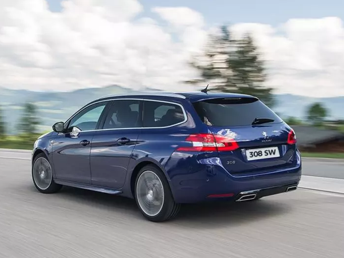 Blue Peugeot 308 SW driving away from you down a lane