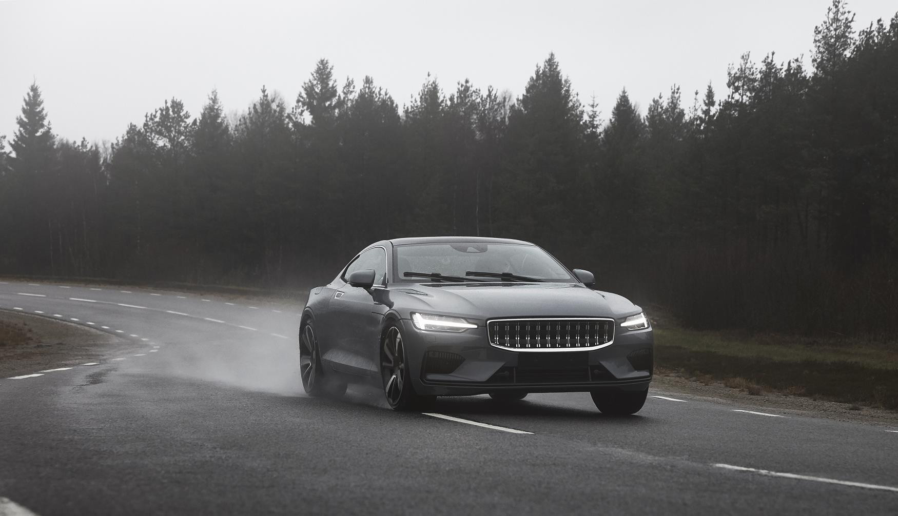 Grey Polestar 1 on test on country road