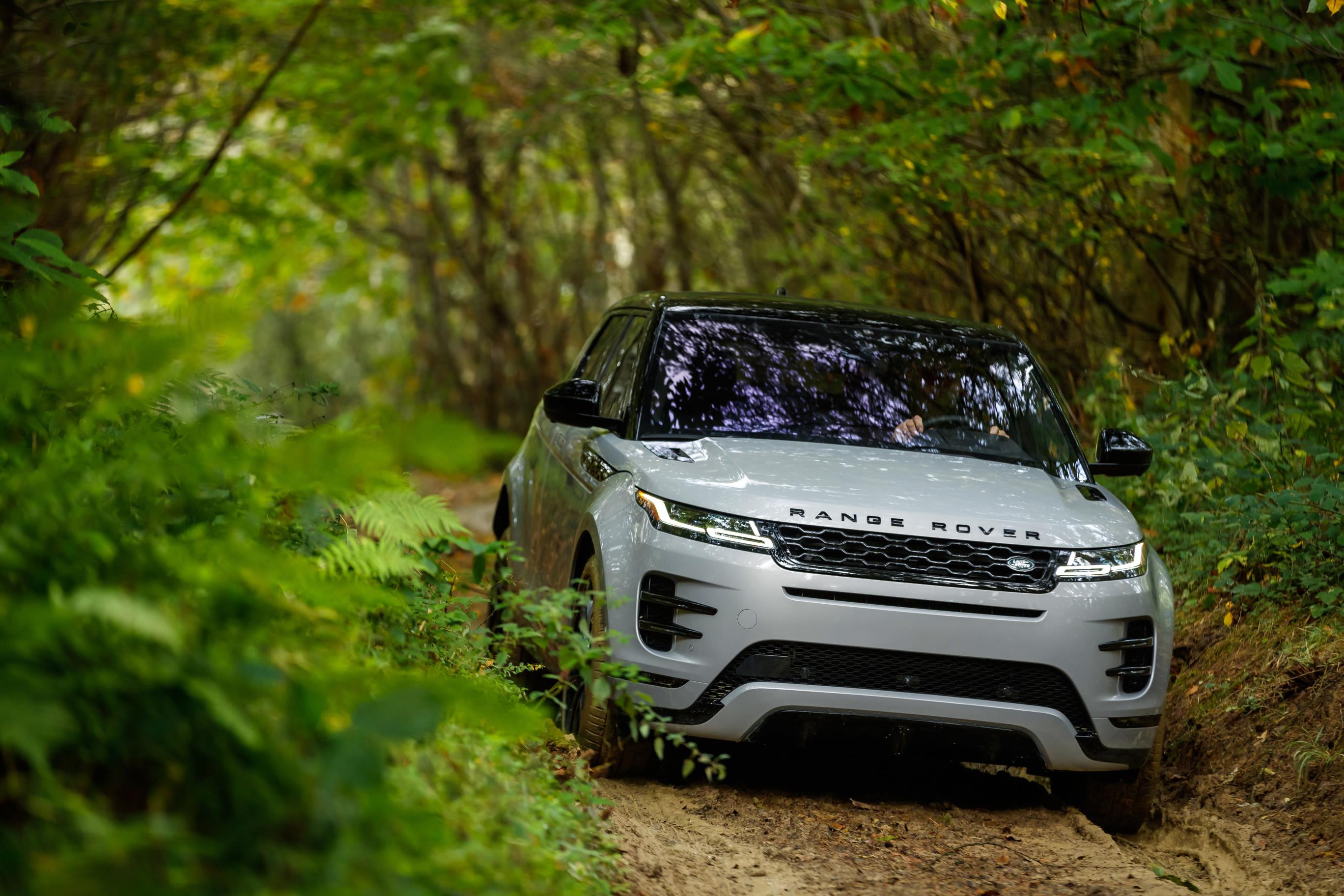Pale grey Range Rover Evoque driving off-road through a leafy forest