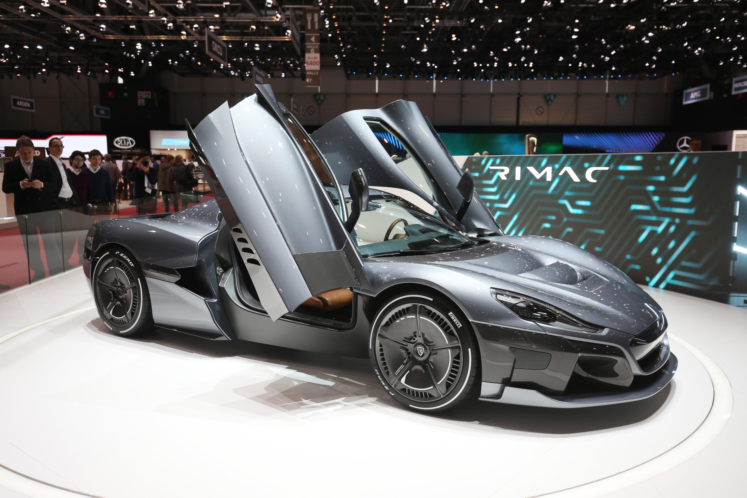 Charcoal grey metallic Rimac Concept Two electric supercar