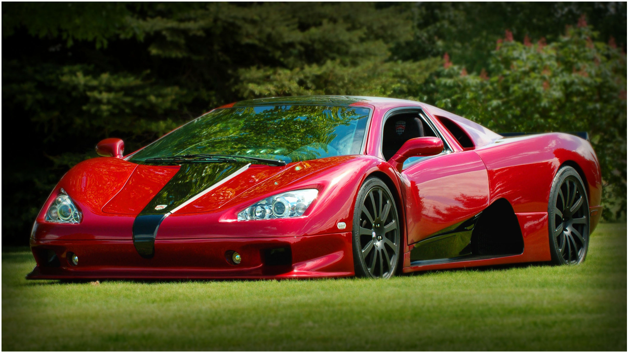 SCC Ultimate aero in red and black on display in a park