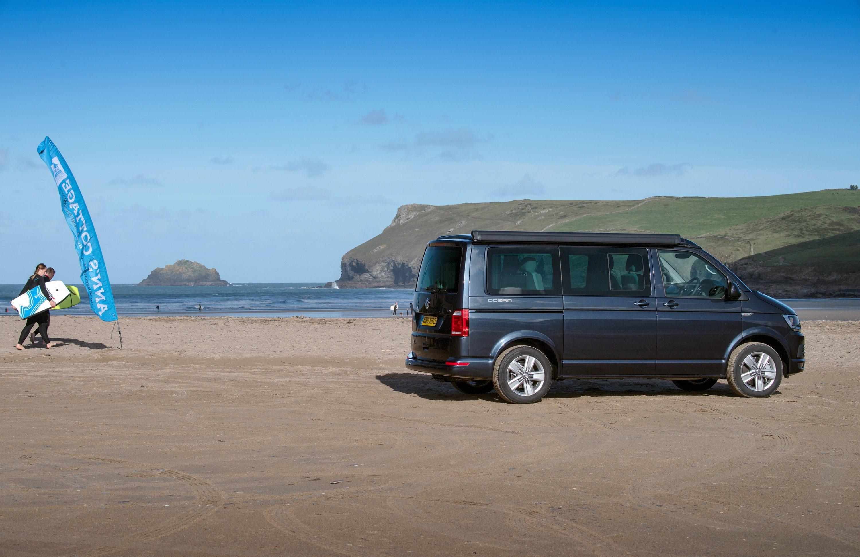 VW California Ocean campervan on a beach