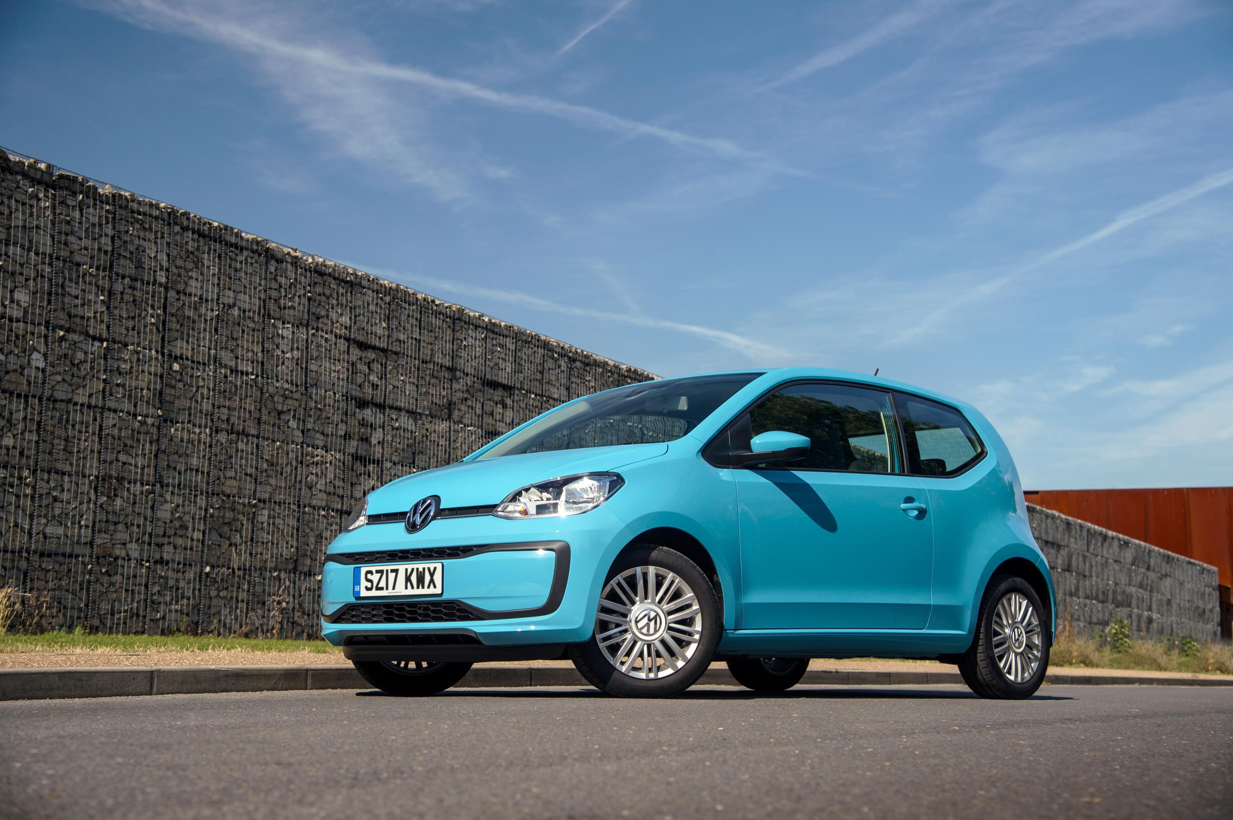 Bright blue VW up! parked two thirds side on