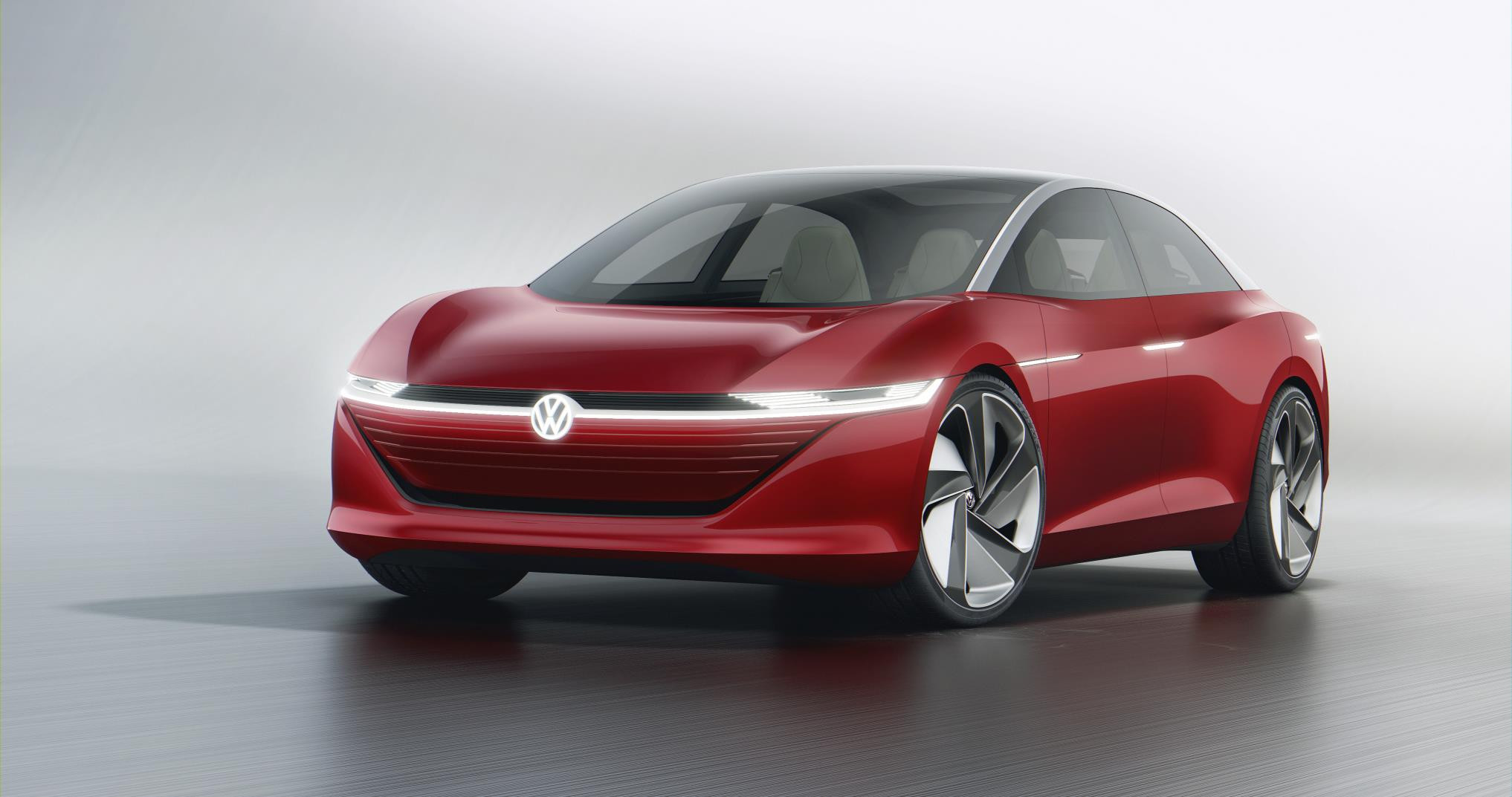 Red and silver Volkswagen Vizzion concept car